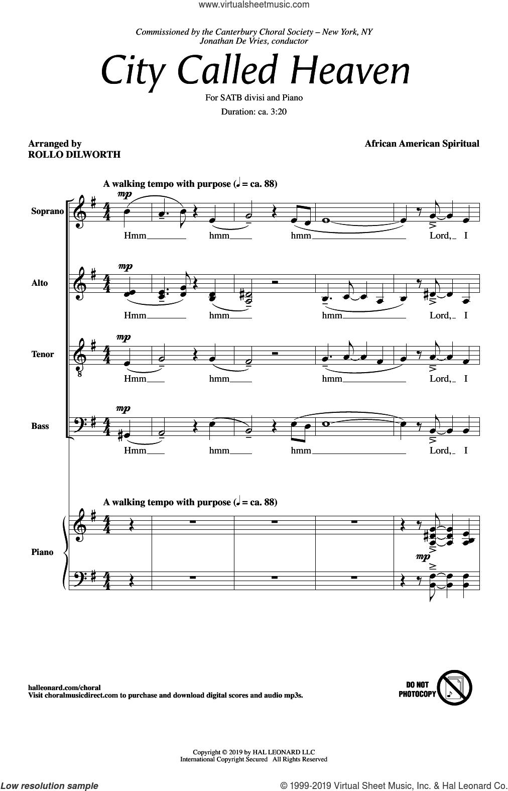 City Called Heaven (arr. Rollo Dilworth) sheet music for choir (SATB: soprano, alto, tenor, bass)  and Rollo Dilworth, intermediate skill level