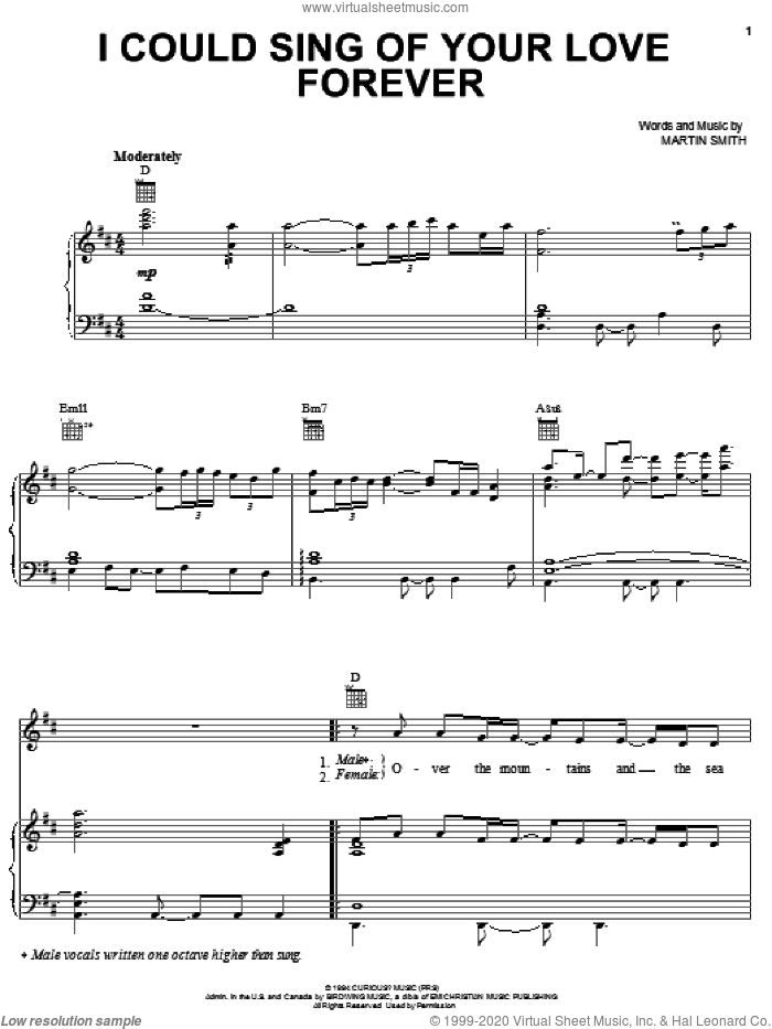 I Could Sing Of Your Love Forever sheet music for voice, piano or guitar by Delirious?, Passion Band and Martin Smith, wedding score, intermediate skill level
