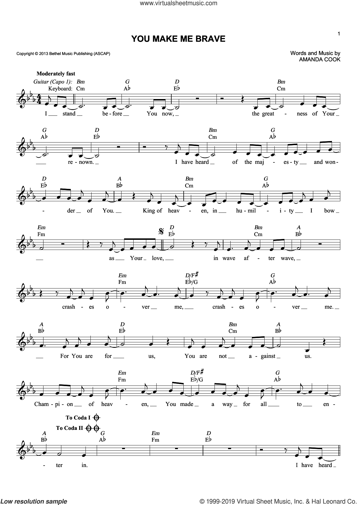 You Make Me Brave sheet music for voice and other instruments (fake book) by Bethel Music and Amanda Cook, intermediate skill level