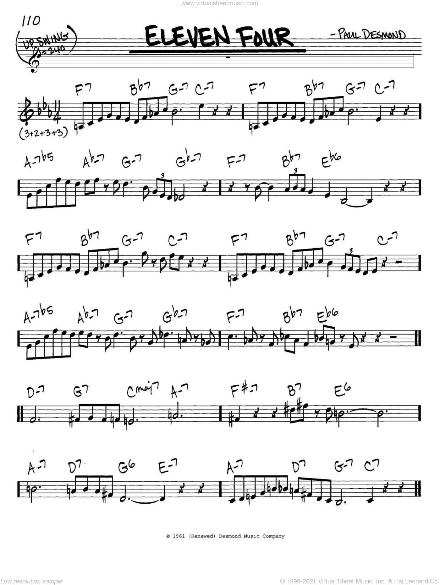 Eleven Four sheet music for voice and other instruments (in C) by Paul Desmond, intermediate skill level
