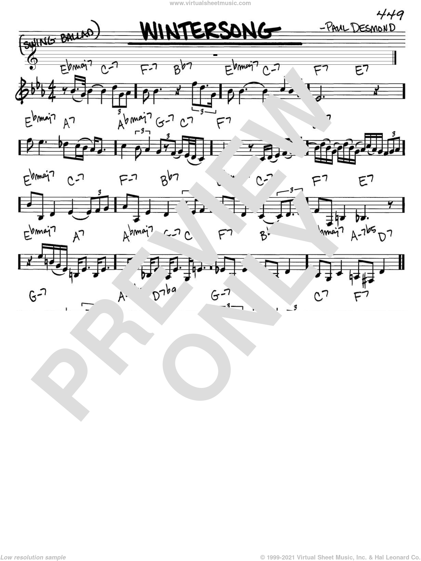 Wintersong sheet music for voice and other instruments (in C) by Paul Desmond, intermediate skill level
