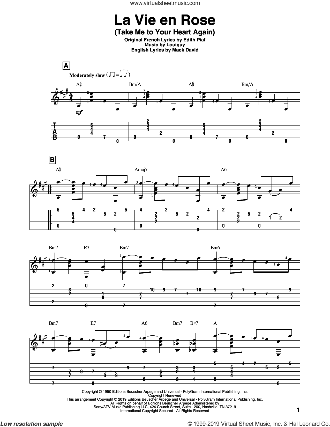La Vie En Rose (Take Me To Your Heart Again) sheet music for guitar solo by Edith Piaf, Mack David and Marcel Louiguy, intermediate skill level