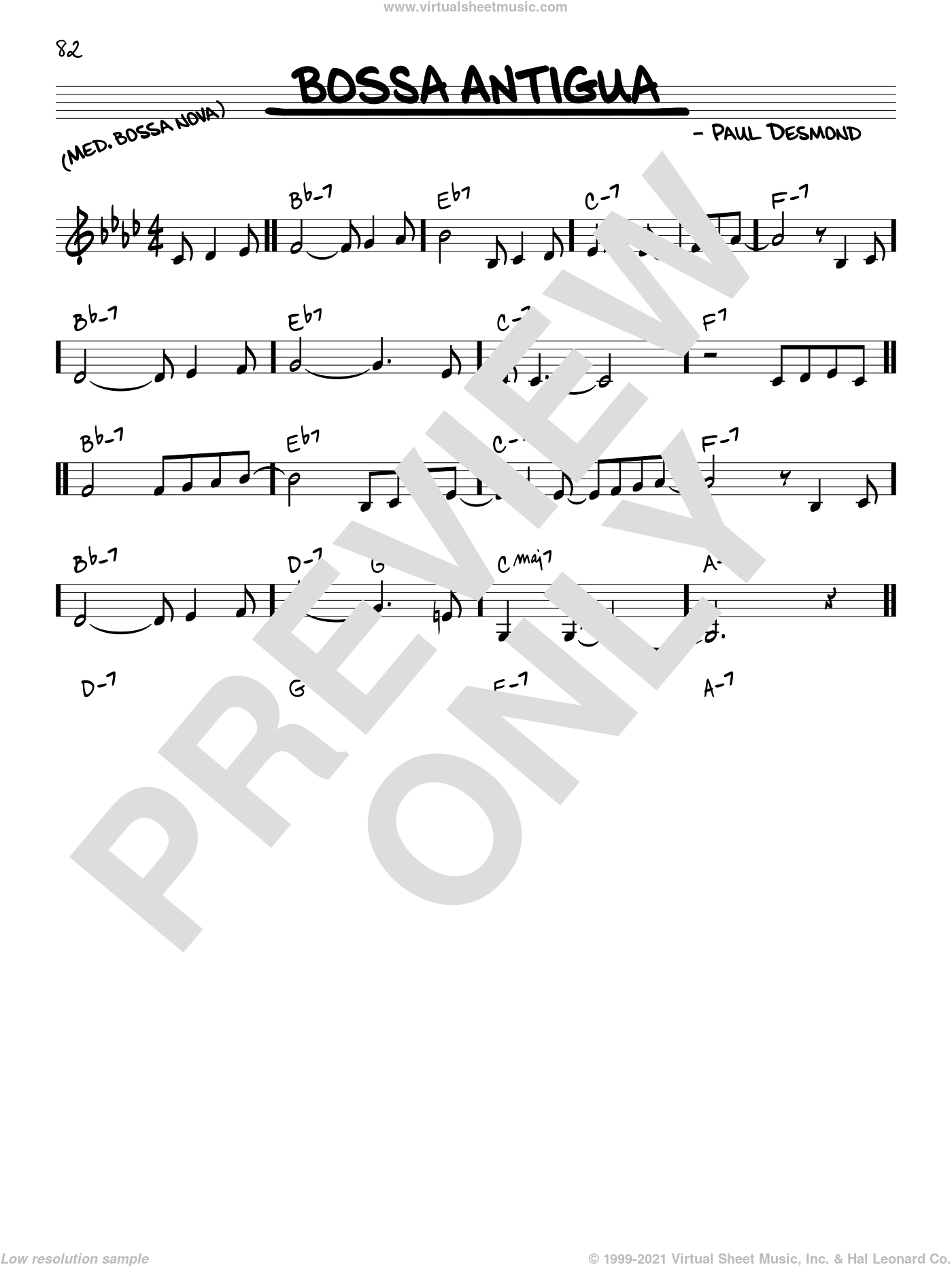 Bossa Antigua sheet music for voice and other instruments (in C) by Paul Desmond, intermediate skill level