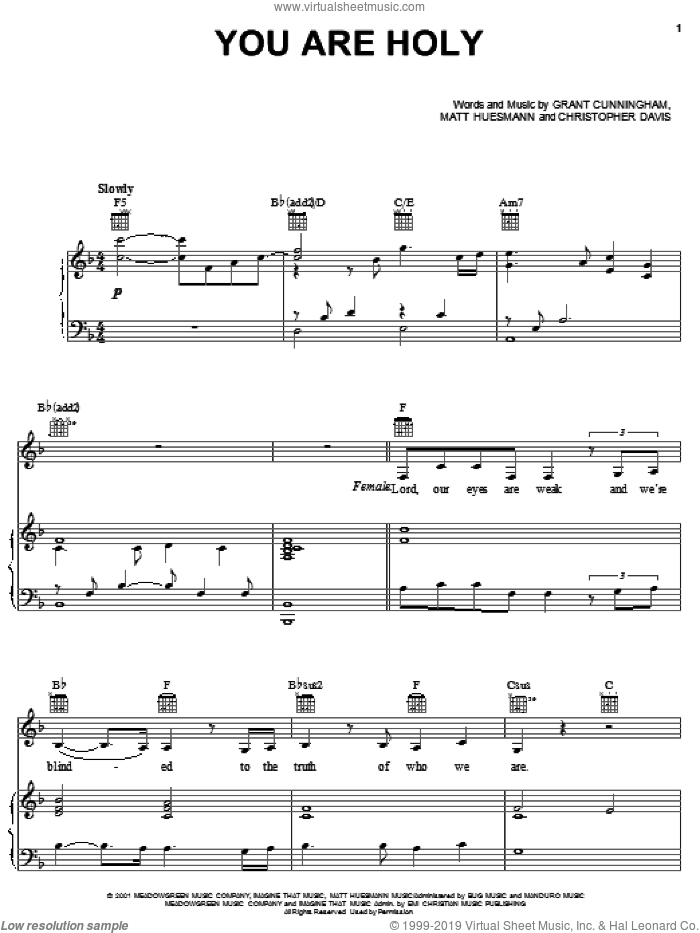 You Are Holy sheet music for voice, piano or guitar by Matt Huesmann and Grant Cunningham. Score Image Preview.