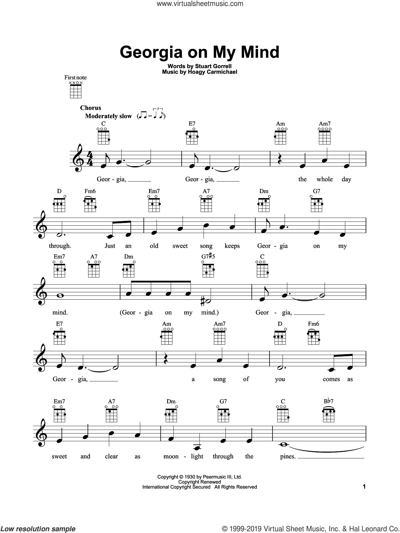 Georgia On My Mind sheet music for ukulele by Ray Charles, Hoagy Carmichael and Stuart Gorrell, intermediate skill level