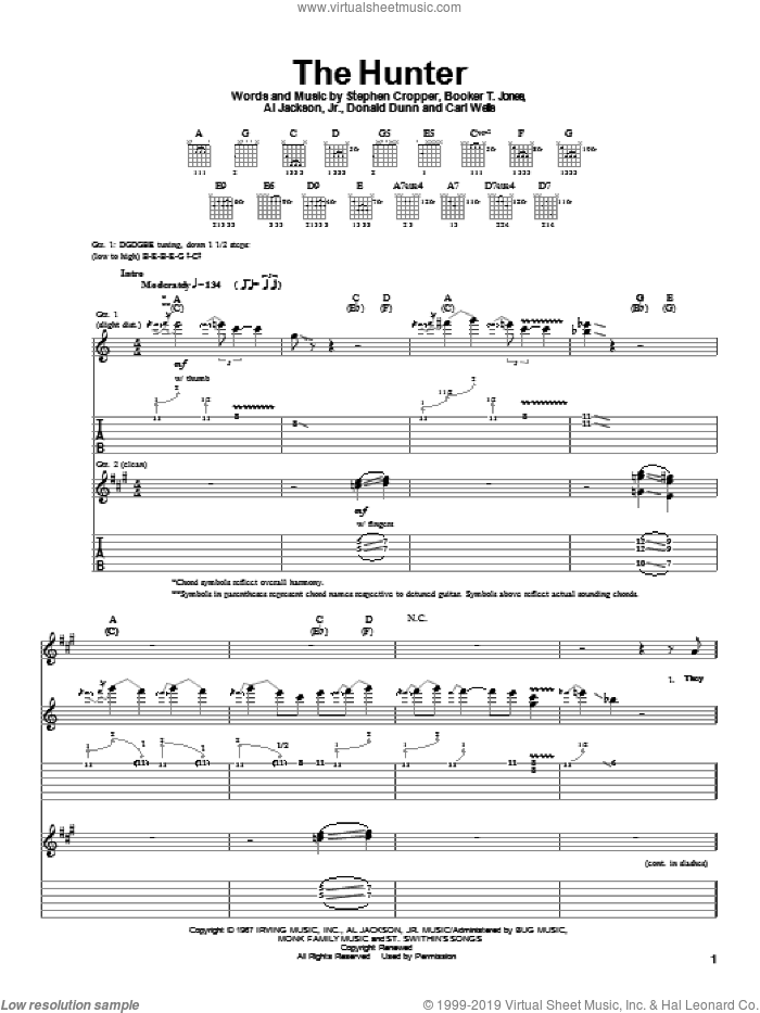 The Hunter sheet music for guitar (tablature) by Albert King. Score Image Preview.