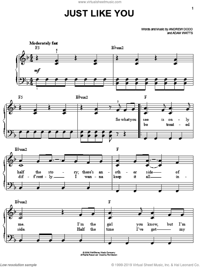 Just Like You sheet music for piano solo by Hannah Montana, Miley Cyrus, Adam Watts and Andrew Dodd, easy skill level