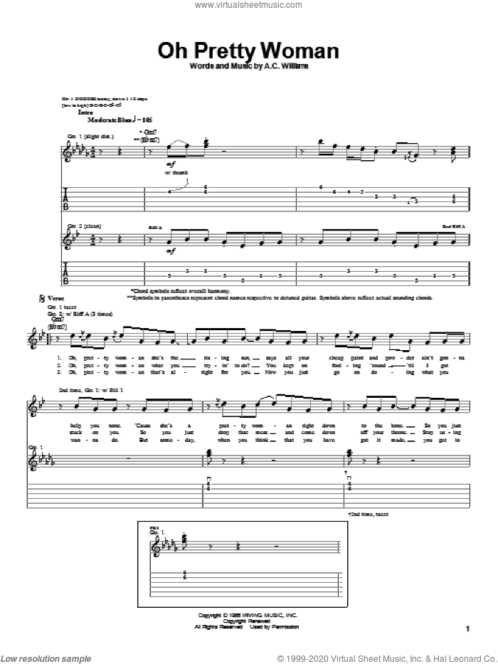 Oh Pretty Woman sheet music for guitar (tablature) by A.C. Williams