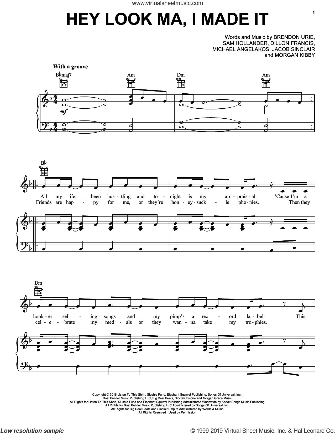 Hey Look Ma, I Made It sheet music for voice, piano or guitar by Panic! At The Disco, Brendon Urie, Dillon Francis, Jacob Sinclair, Michael Angelakos, Morgan Kibby and Sam Hollander, intermediate skill level