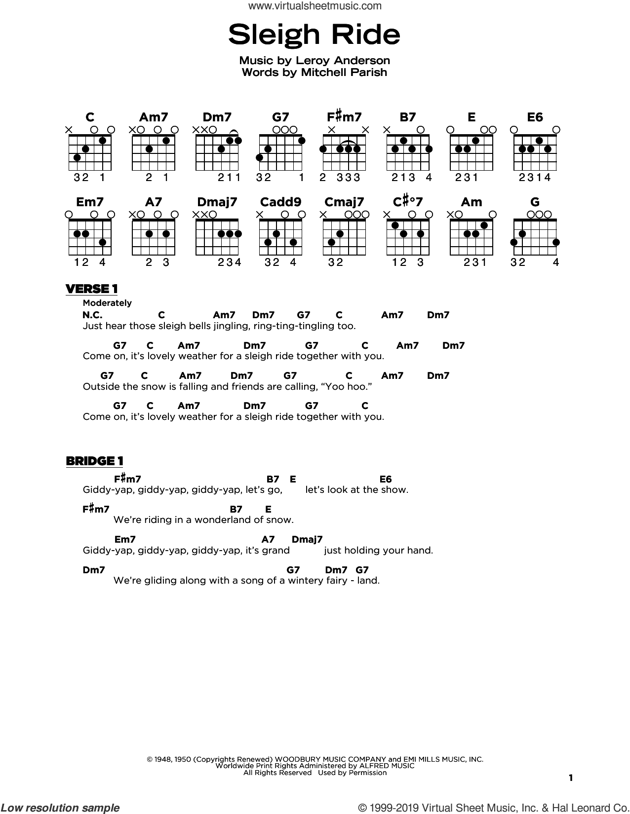 Sleigh Ride sheet music for guitar solo by Leroy Anderson and Mitchell Parish, beginner skill level