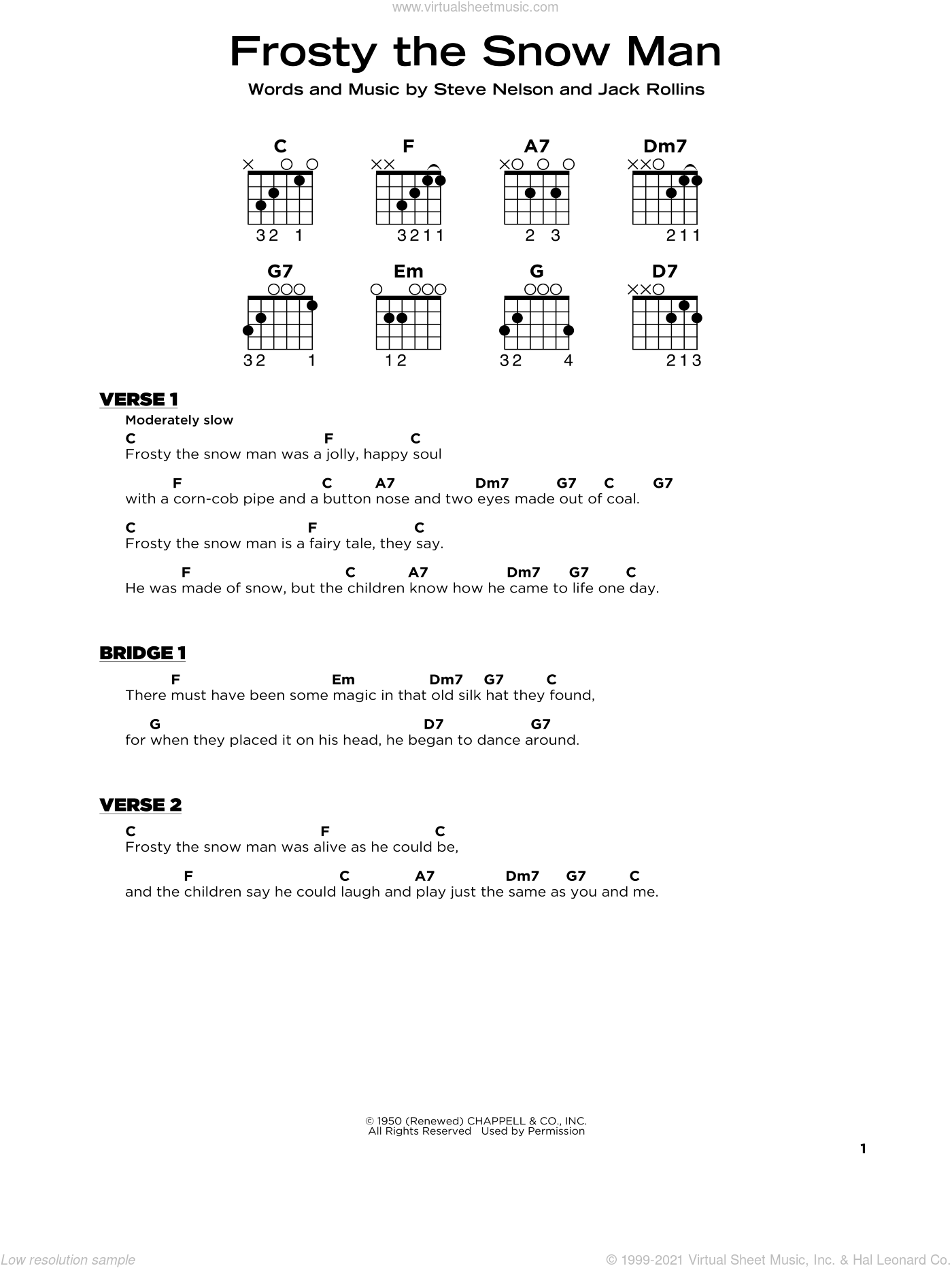 Frosty The Snow Man sheet music for guitar solo by Gene Autry, Jack Rollins and Steve Nelson, beginner skill level