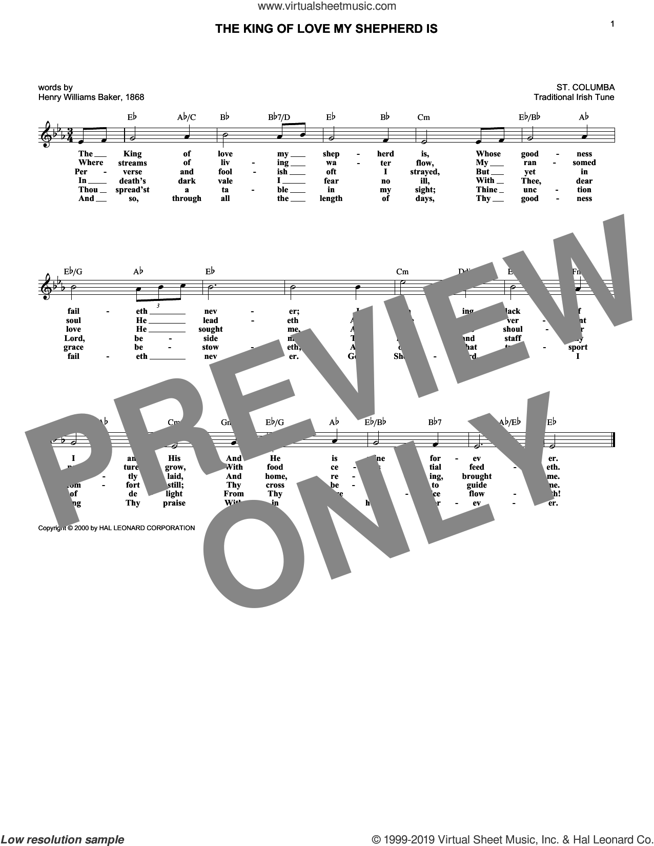 The King Of Love My Shepherd Is sheet music for voice and other instruments (fake book) by Henry Williams Baker and Miscellaneous, intermediate skill level