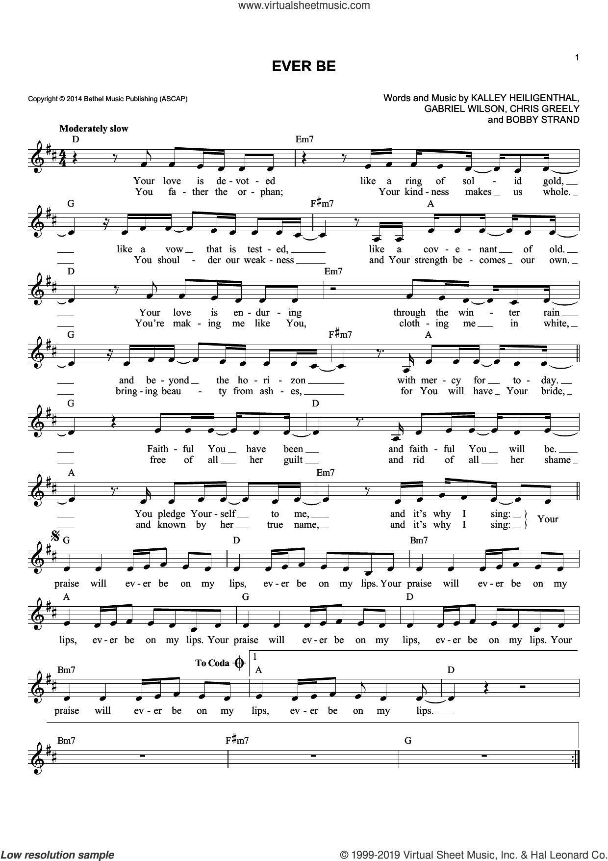 Ever Be sheet music for voice and other instruments (fake book) by Bethel Music, Bobby Strand, Chris Greely, Gabriel Wilson and Kalley Heiligenthal, intermediate skill level