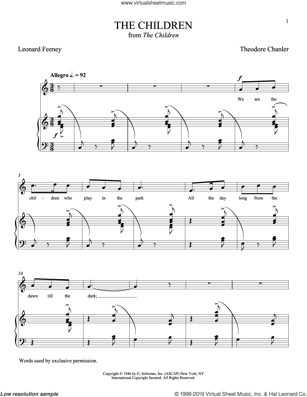 The Children sheet music for voice and piano (Soprano) by Theodore Chanler, Leonard Feeney and Leonard Feeney and Theodore Chanler, classical score, intermediate skill level