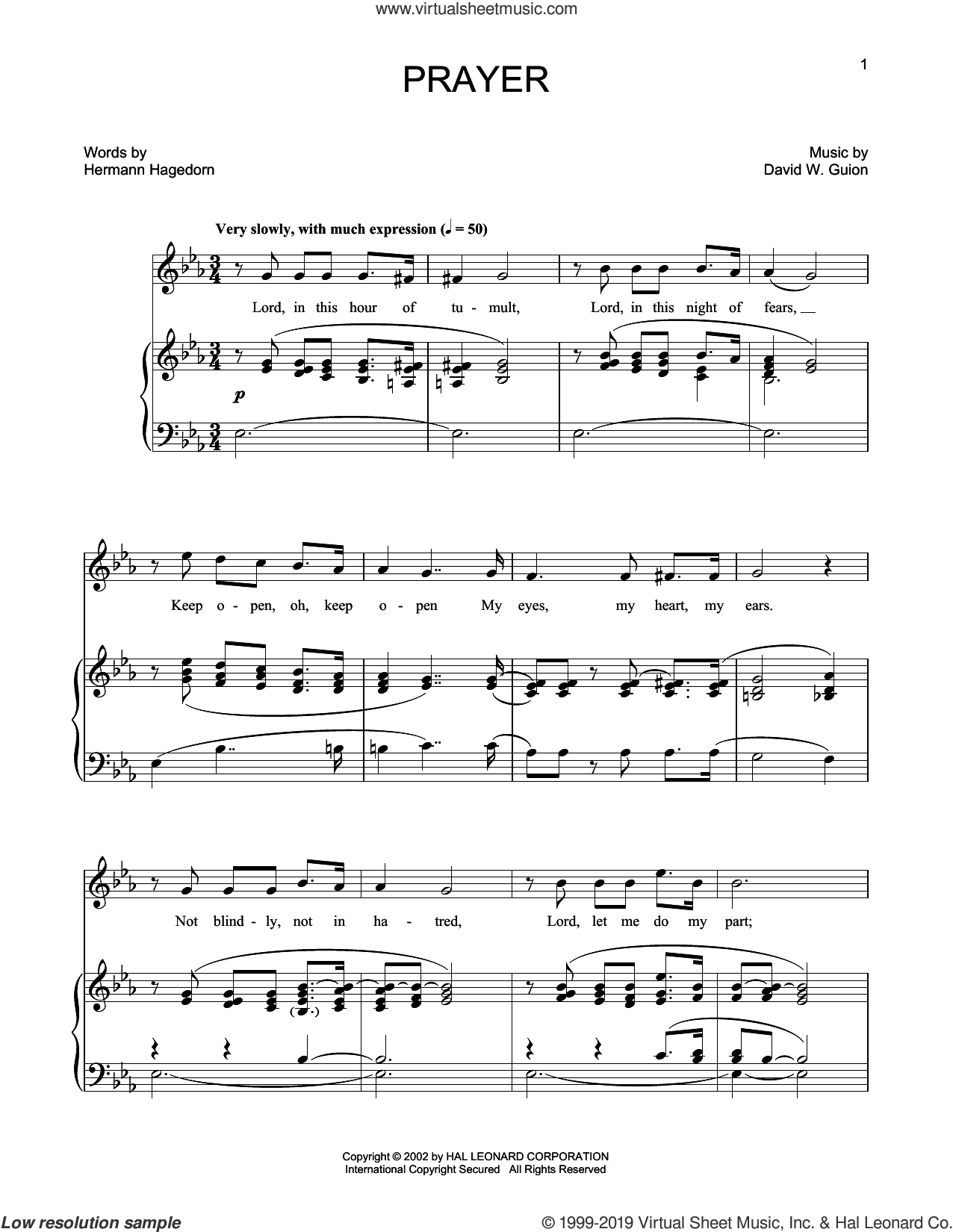 Prayer (arr. Joan Frey Boytim) sheet music for voice and piano (High Voice) by David W. Guion and Hermann Hagedorn, Joan Frey Boytim, David W. Guion and Hermann Hagedorn, classical score, intermediate skill level