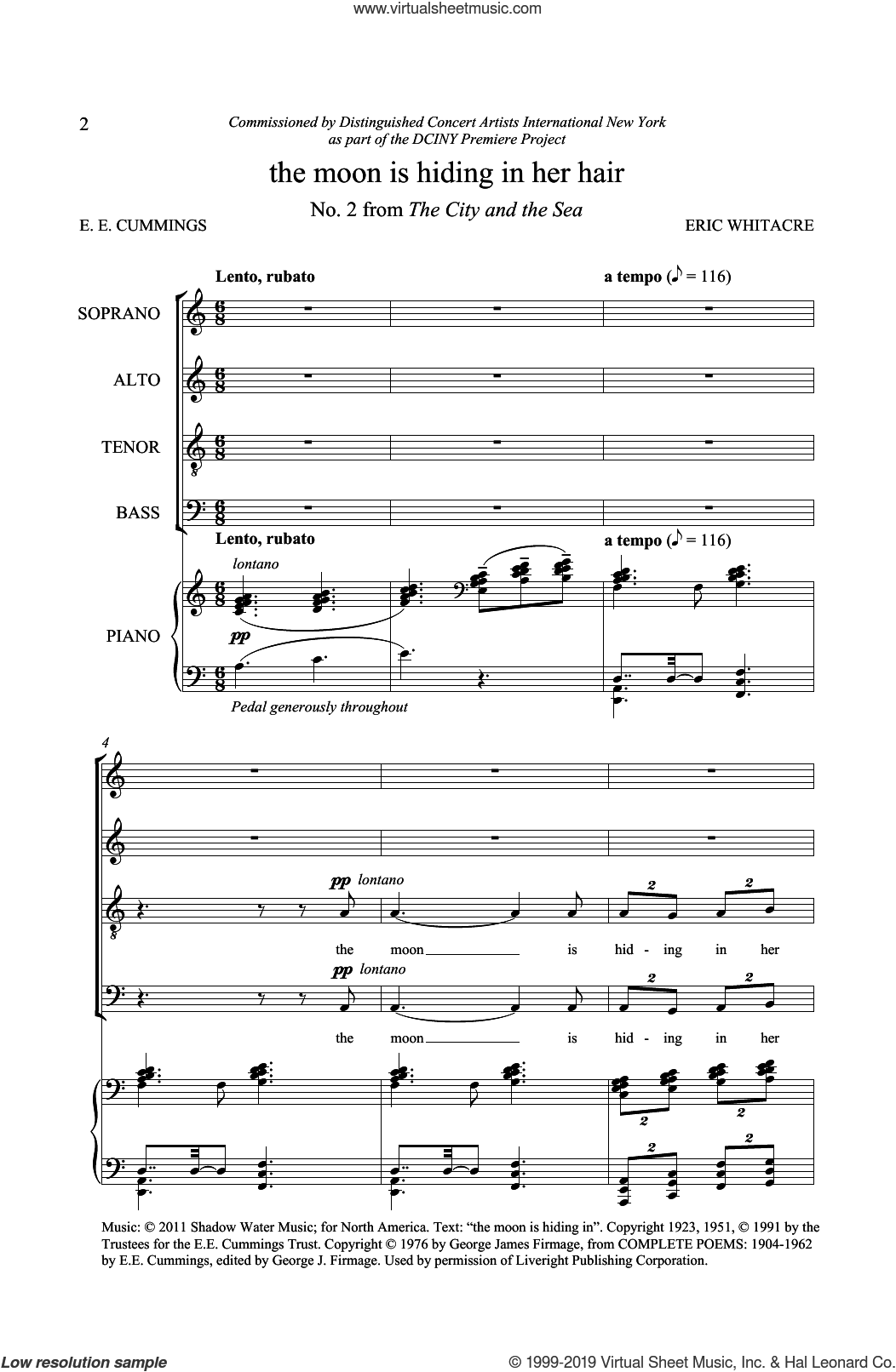 The Moon Is Hiding In Her Hair (from The City And The Sea) sheet music for choir (SATB: soprano, alto, tenor, bass) by Eric Whitacre and E.E. Cummings, intermediate skill level