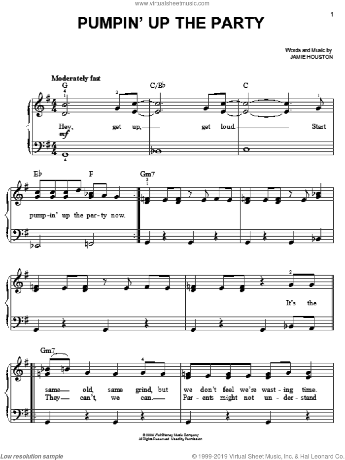 Pumpin' Up The Party sheet music for piano solo by Hannah Montana, Miley Cyrus and Jamie Houston, easy skill level