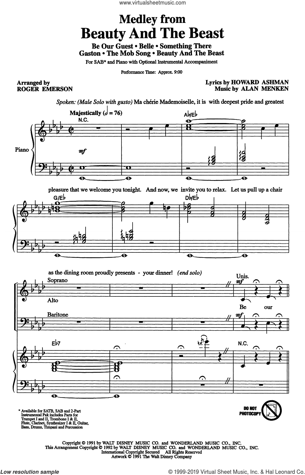 Beauty And The Beast (Medley) (arr. Roger Emerson) sheet music for choir (SAB: soprano, alto, bass) by Alan Menken, Roger Emerson, Alan Menken & Howard Ashman and Howard Ashman, intermediate skill level
