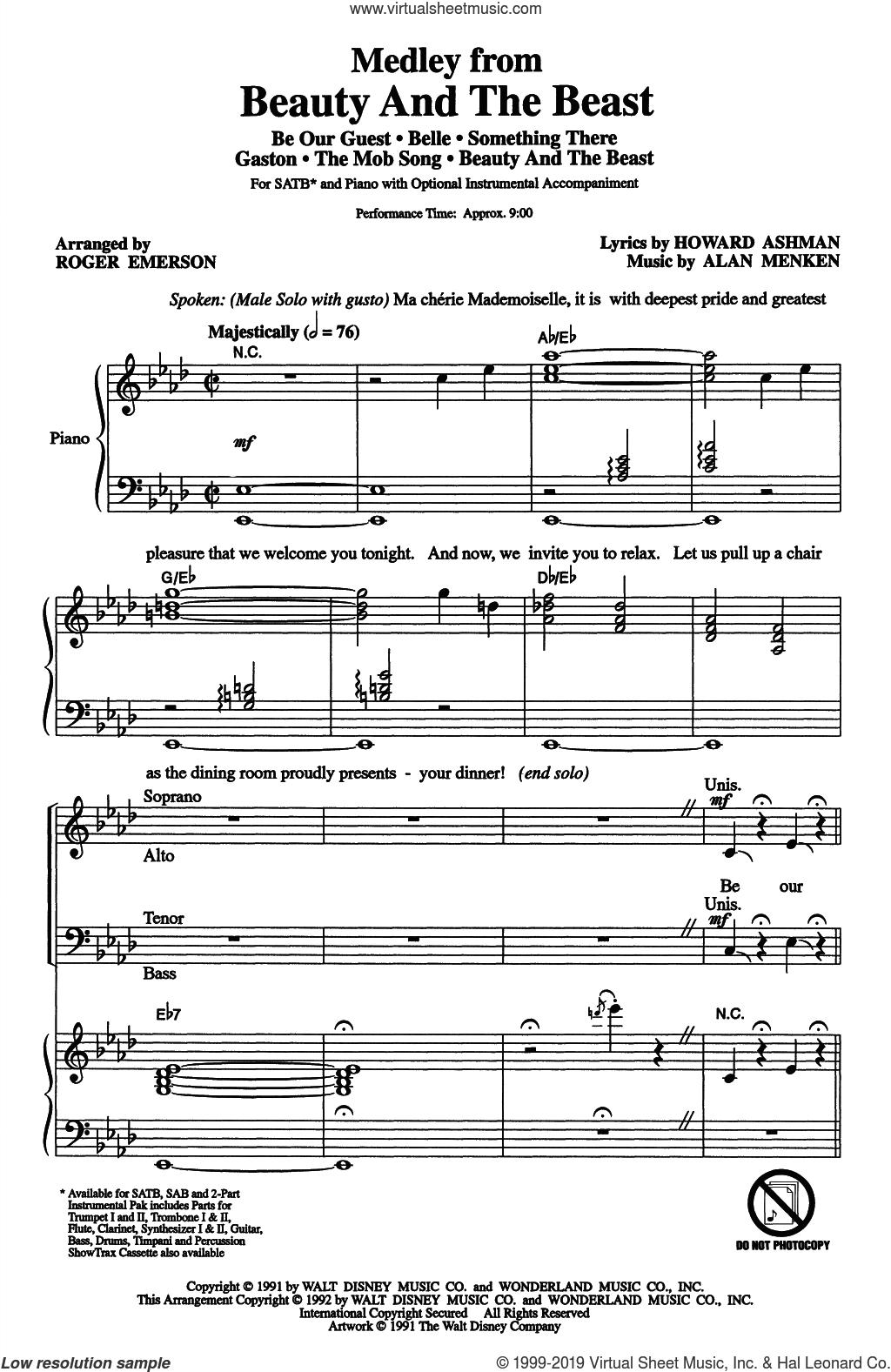 Beauty And The Beast (Medley) (arr. Roger Emerson) sheet music for choir (SATB: soprano, alto, tenor, bass) by Alan Menken, Roger Emerson, Alan Menken & Howard Ashman and Howard Ashman, intermediate skill level
