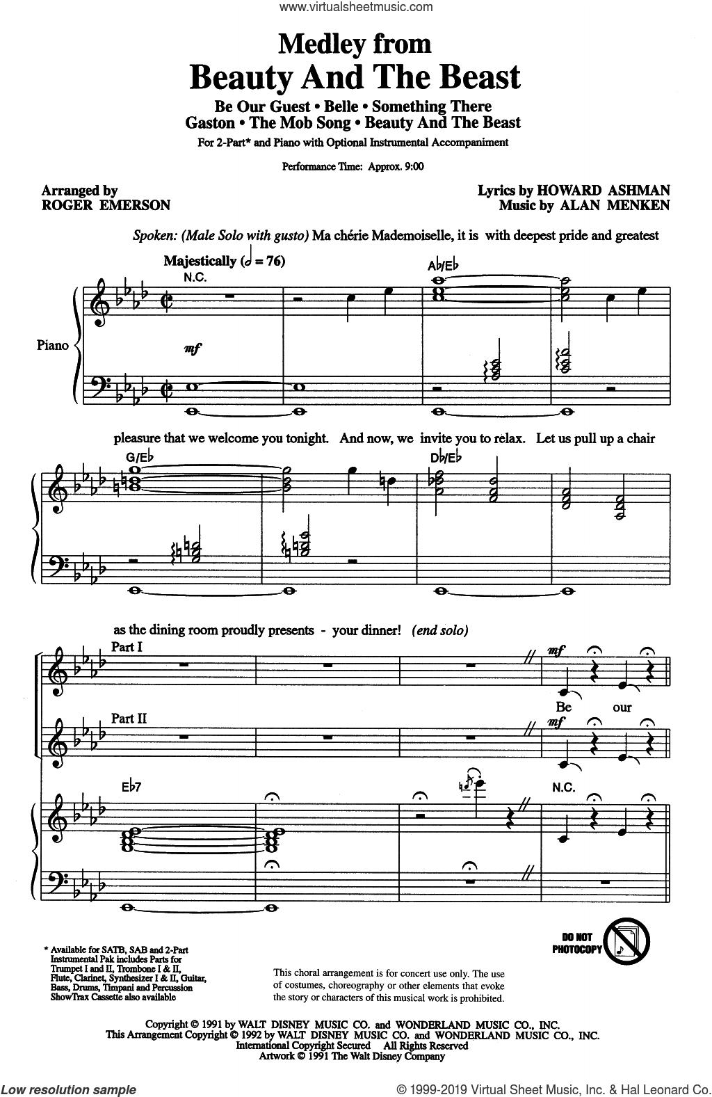 Beauty And The Beast (Medley) (arr. Roger Emerson) sheet music for choir (2-Part) by Alan Menken, Roger Emerson, Alan Menken & Howard Ashman and Howard Ashman, intermediate duet