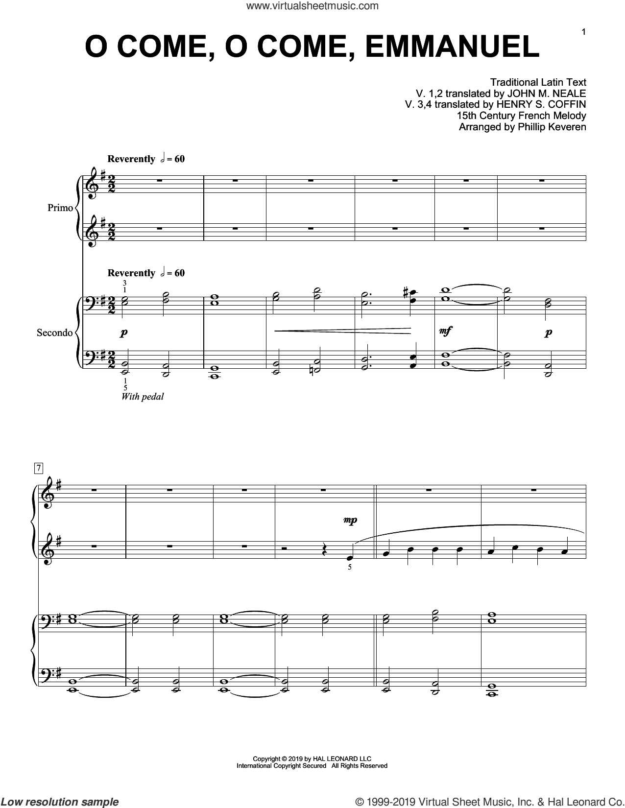 O Come, O Come, Emmanuel (arr. Phillip Keveren) sheet music for piano four hands by John M. Neale (v. 1,2), Phillip Keveren, 15th Century French Melody, Henry S. Coffin (v. 3,4), Miscellaneous and Thomas Helmore, intermediate skill level