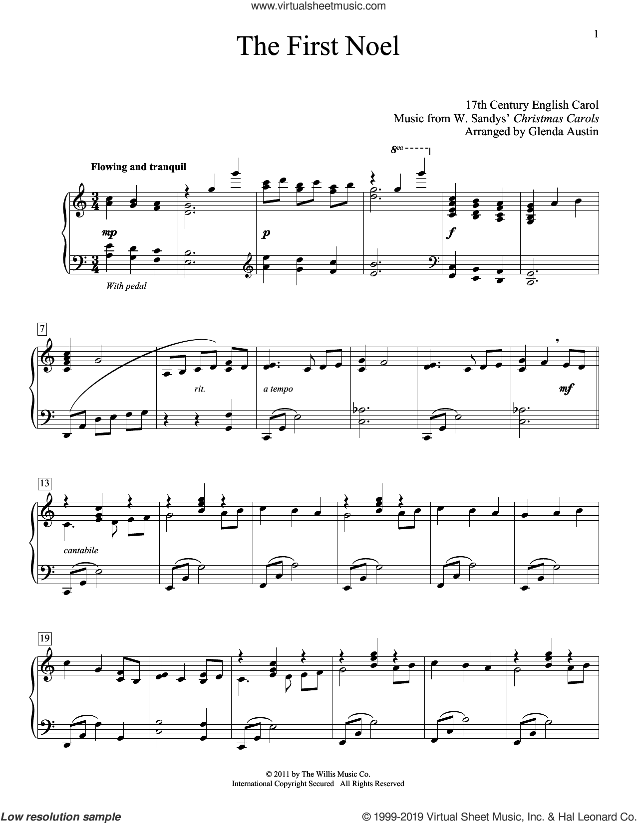 The First Noel (arr. Glenda Austin) sheet music for piano solo by Anonymous, Glenda Austin and Miscellaneous, intermediate skill level