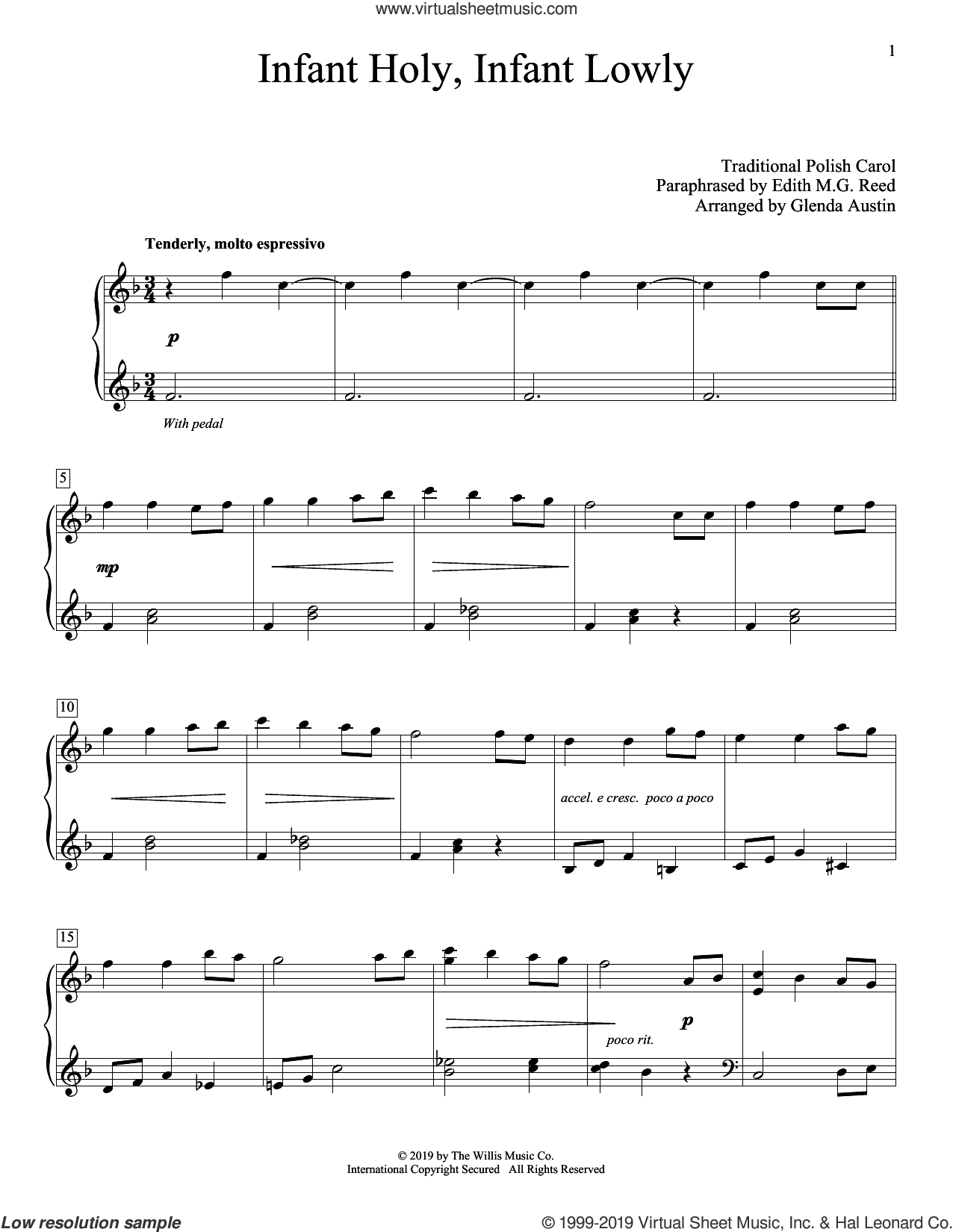 Infant Holy, Infant Lowly (arr. Glenda Austin) sheet music for piano solo by Edith M.G. Reed, Glenda Austin and Miscellaneous, intermediate skill level
