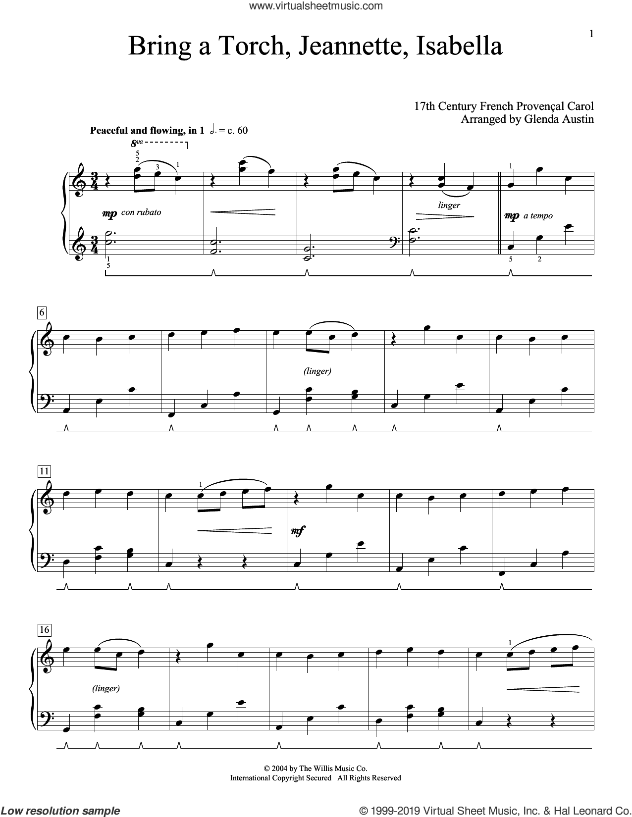 Bring A Torch, Jeannette, Isabella (arr. Glenda Austin) sheet music for piano solo by Anonymous, Glenda Austin and Miscellaneous, intermediate skill level