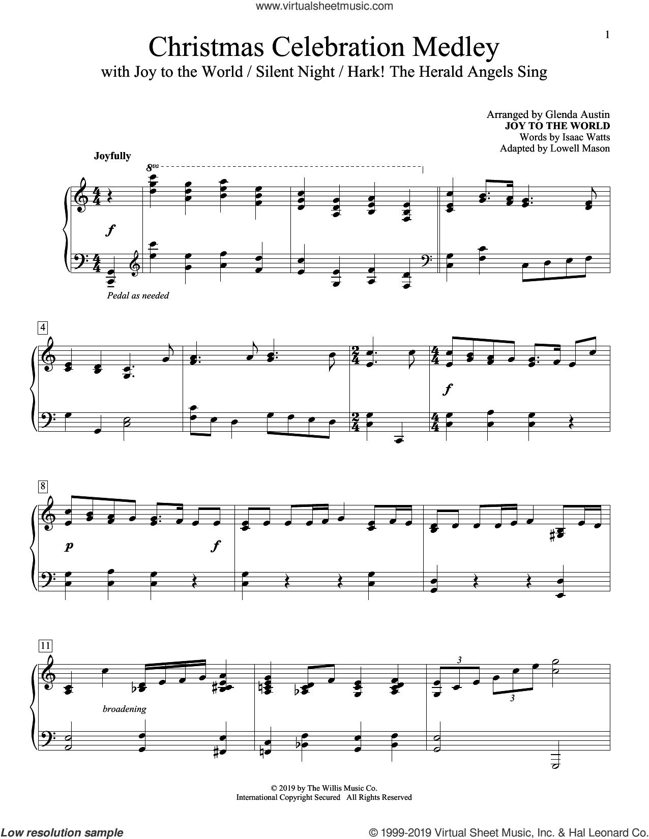 Christmas Celebration Medley sheet music for piano solo by Glenda Austin, intermediate skill level