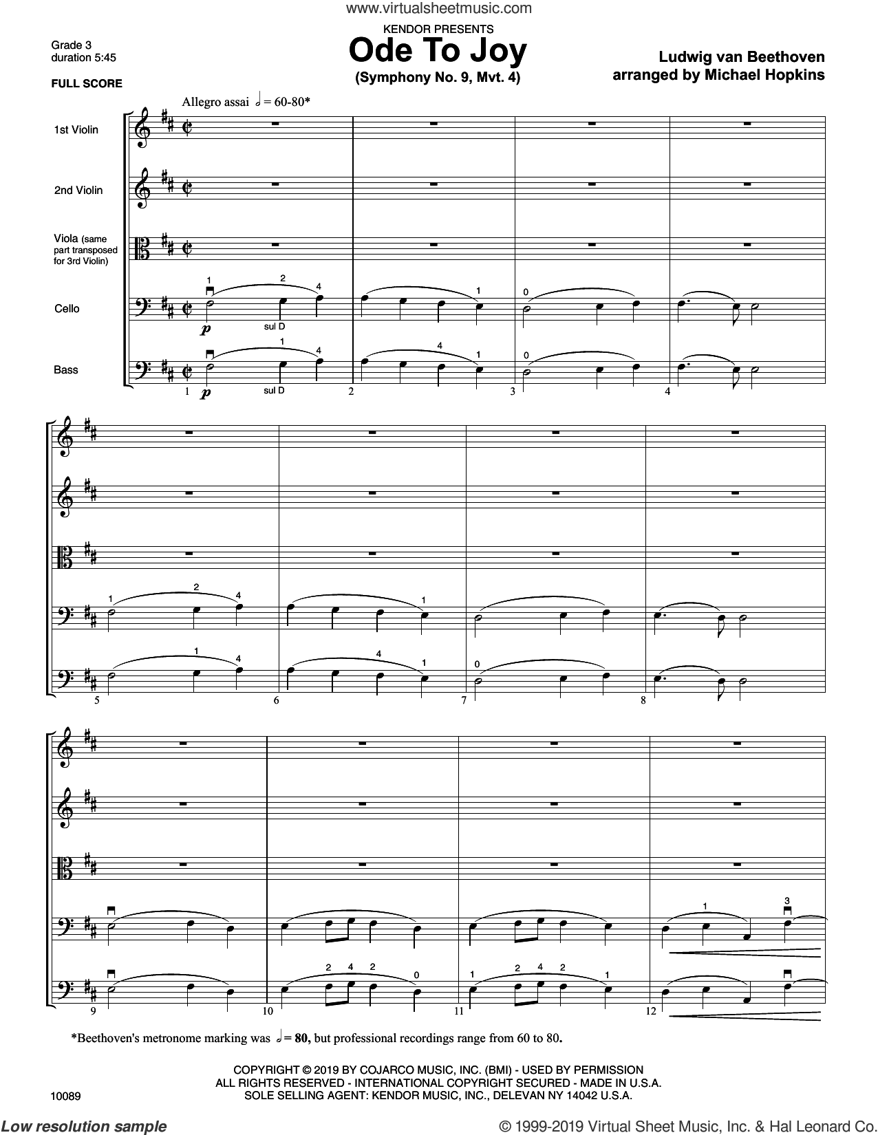 Ode To Joy (Symphony No. 9, Mvt. 4) (COMPLETE) sheet music for orchestra by Ludwig van Beethoven and Michael Hopkins, intermediate skill level