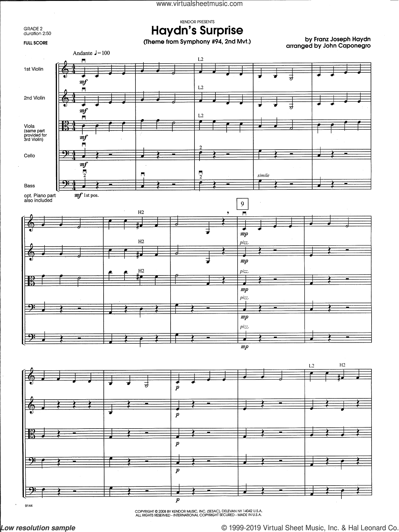 Haydn's Surprise (Theme from Symphony #94, 2nd Mvt.) (COMPLETE) sheet music for orchestra by Franz Joseph Haydn and John Caponegro, intermediate skill level
