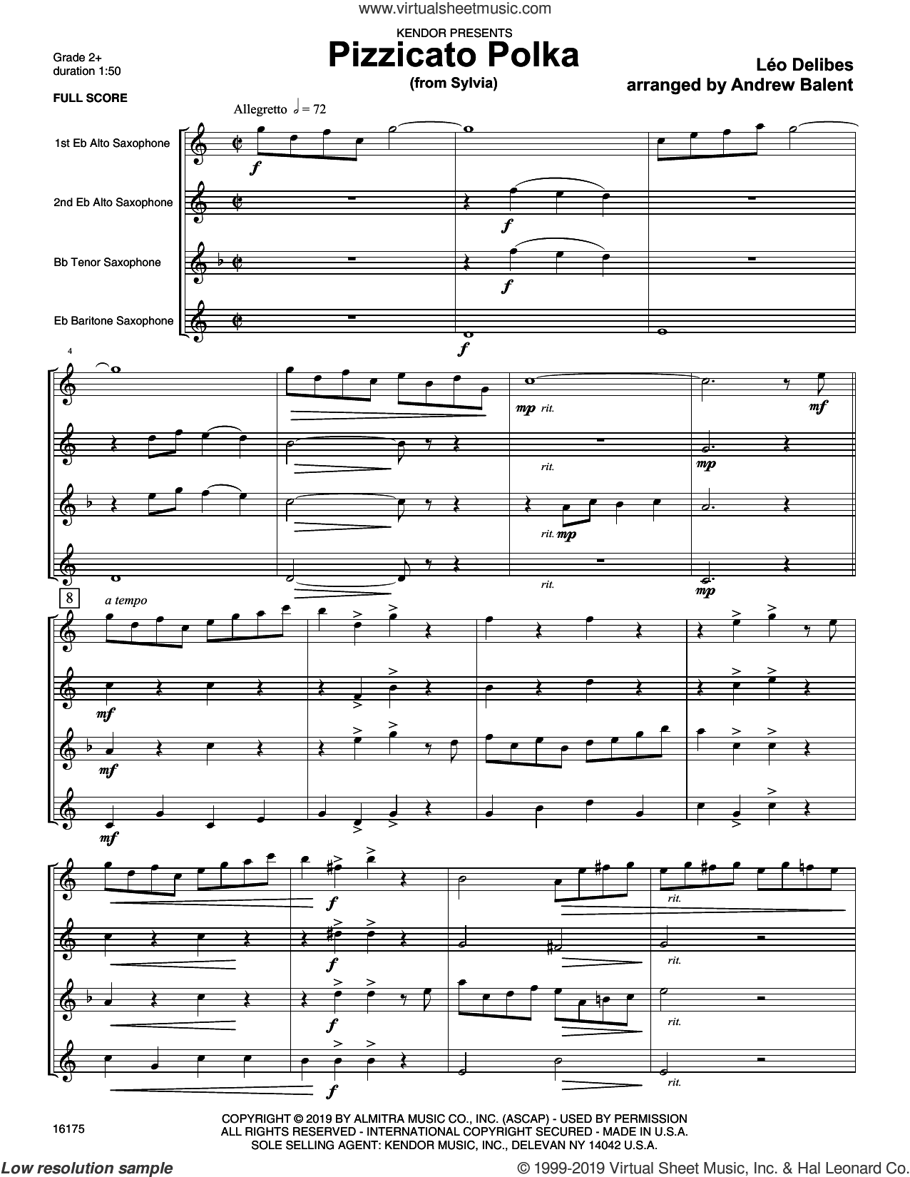 Pizzicato Polka (from Sylvia) (COMPLETE) sheet music for saxophone quartet by Leo Delibes and Andrew Balent, intermediate skill level