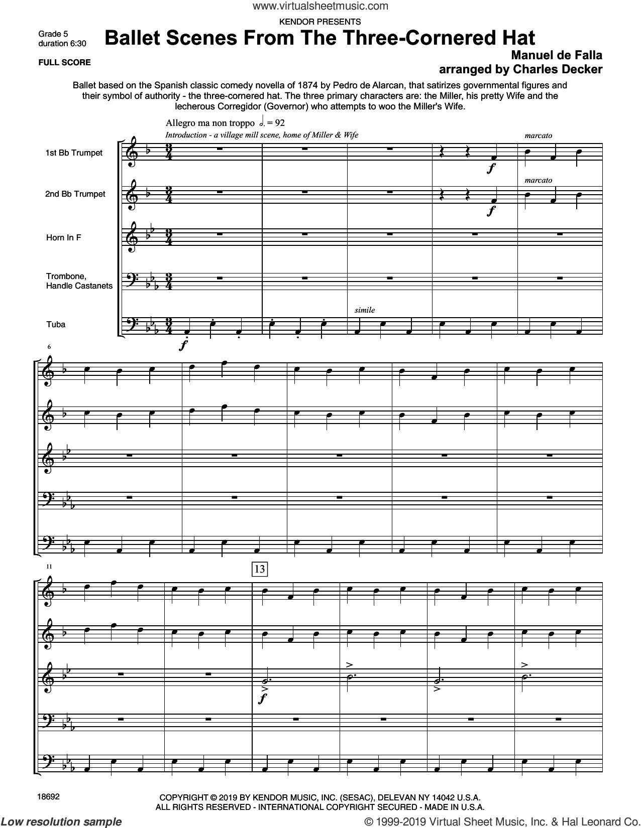 Ballet Scenes From The Three-cornered Hat (COMPLETE) sheet music for brass quintet by Manuel De Falla and Charles Decker, classical score, intermediate skill level