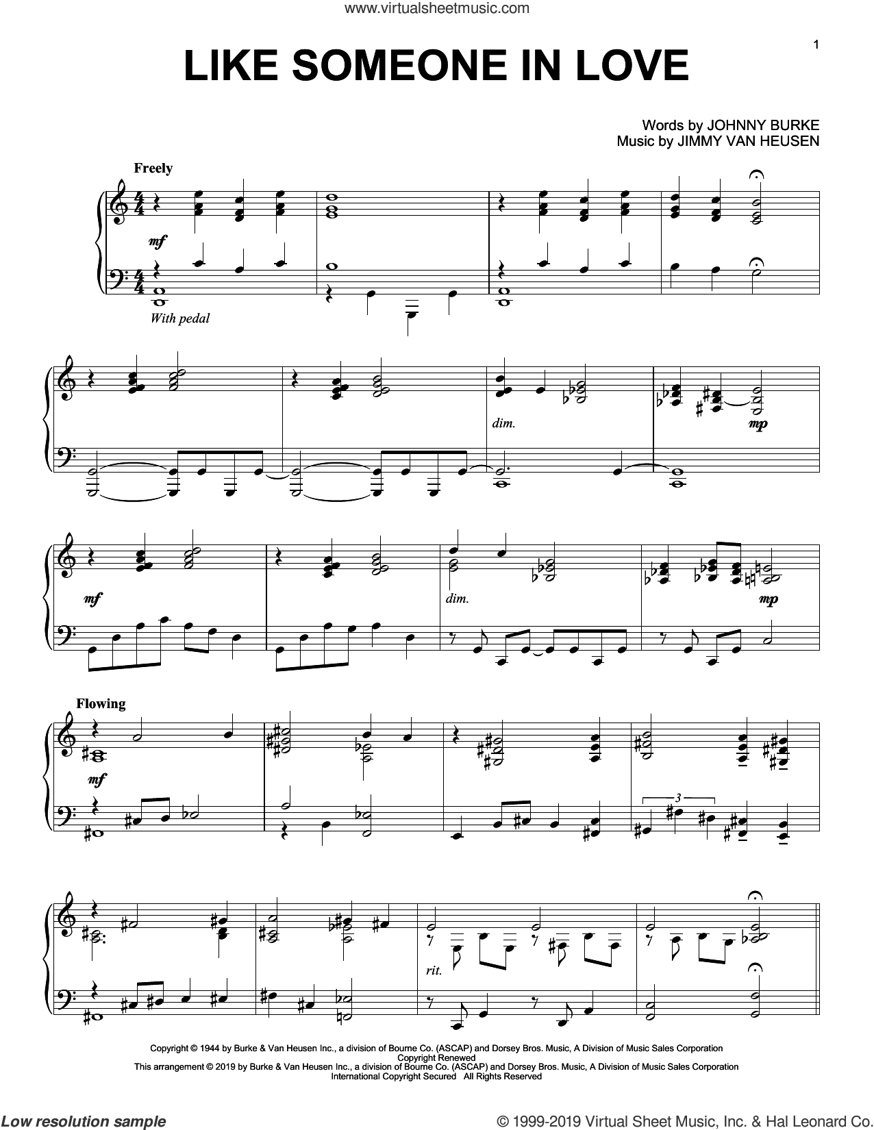 Like Someone In Love sheet music for piano solo by Jimmy Van Heusen and John Burke, intermediate skill level