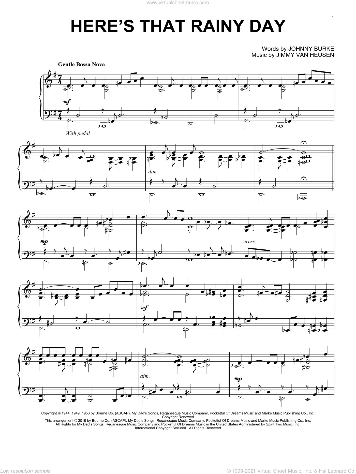 Here's That Rainy Day sheet music for piano solo by Jimmy Van Heusen and John Burke, intermediate skill level