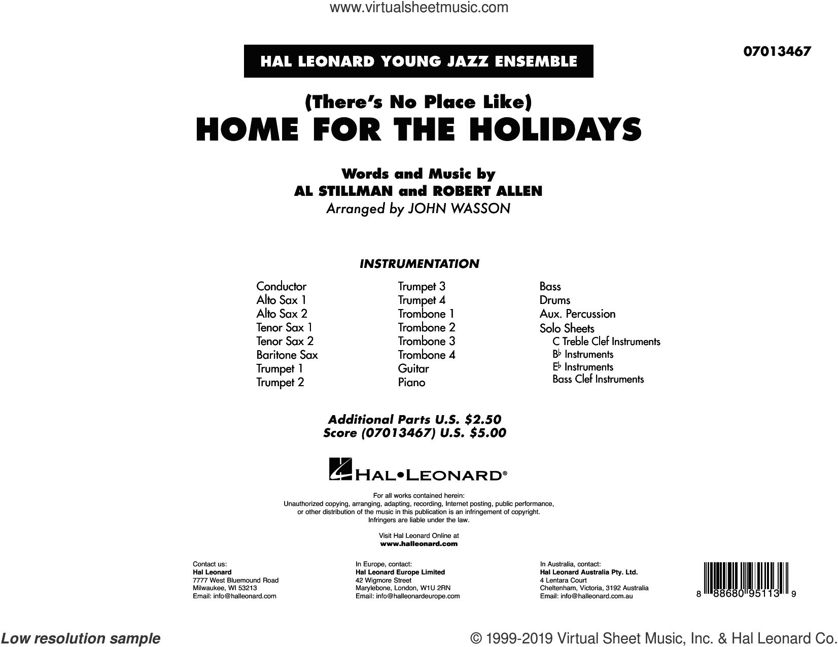 (There's No Place Like) Home for the Holidays (arr. John Wasson) (COMPLETE) sheet music for jazz band by Perry Como, Al Stillman, John Wasson and Robert Allen, intermediate skill level