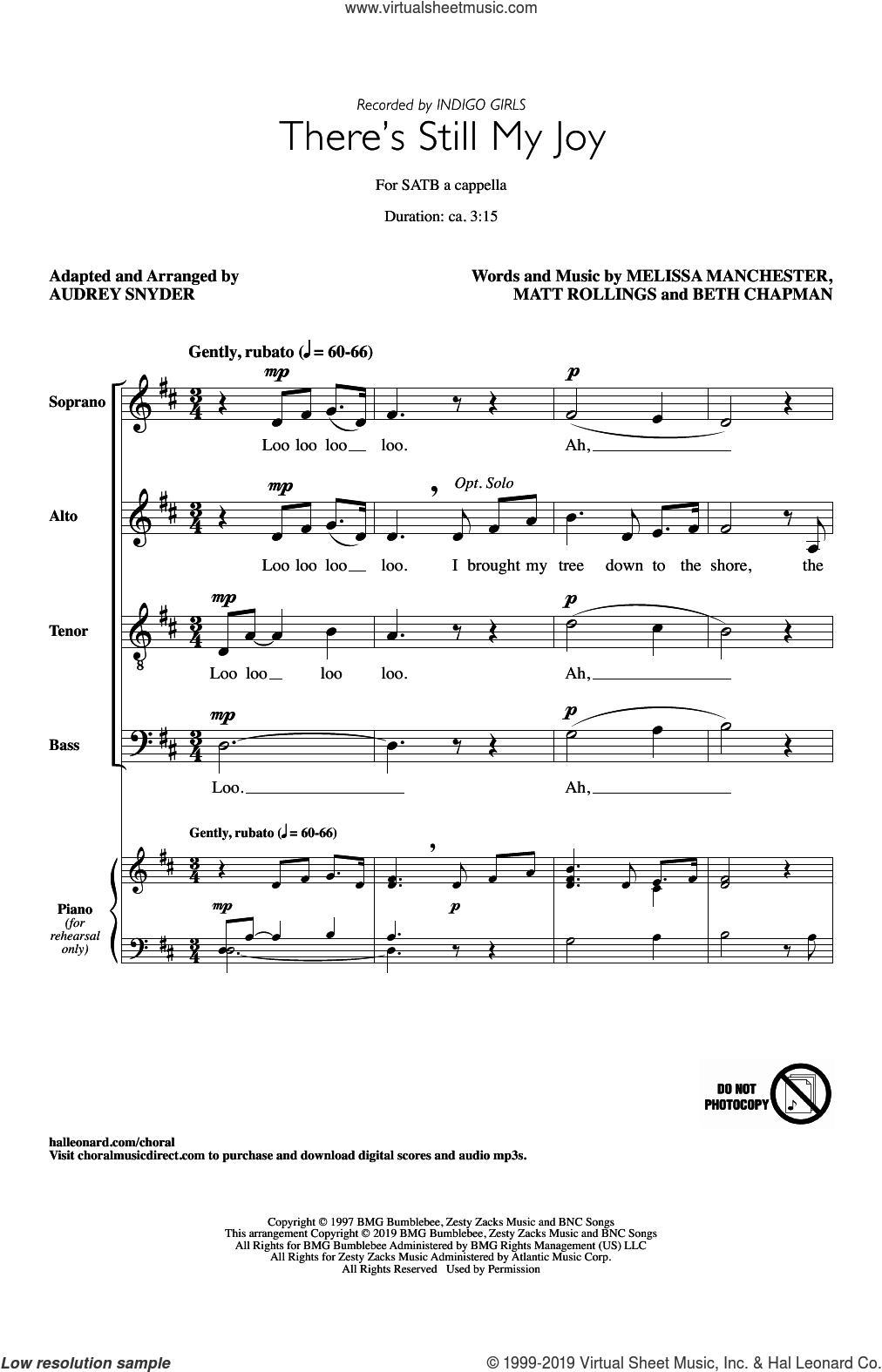 There's Still My Joy (arr. Audrey Snyder) sheet music for choir (SATB: soprano, alto, tenor, bass) by Indigo Girls, Audrey Snyder, Beth Chapman, Matt Rollings and Melissa Manchester, intermediate skill level