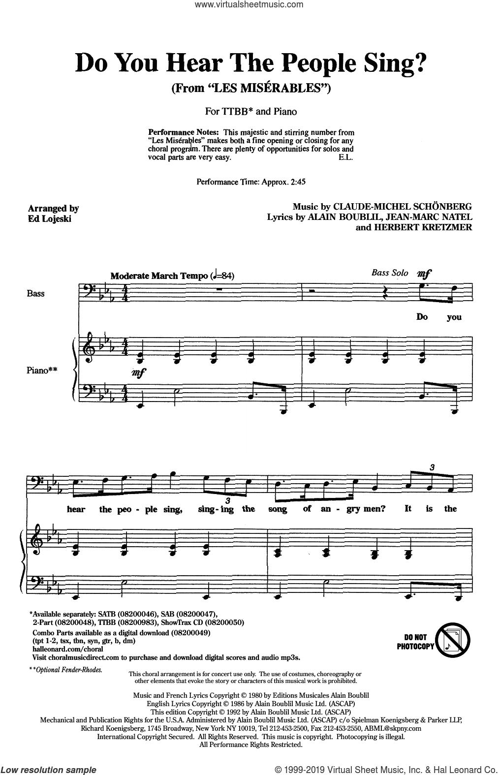 Do You Hear The People Sing? (from Les Miserables) (arr. Ed Lojeski) sheet music for choir (TTBB: tenor, bass) by Alain Boublil, Ed Lojeski, Boublil and Schonberg, Claude-Michel Schonberg, Herbert Kretzmer and Jean-Marc Natel, intermediate skill level
