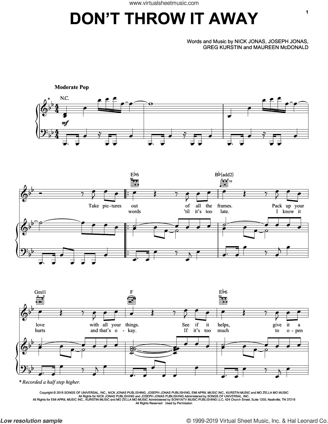 Don't Throw It Away sheet music for voice, piano or guitar by Jonas Brothers, Greg Kurstin, Joseph Jonas, Maureen McDonald and Nick Jonas, intermediate skill level