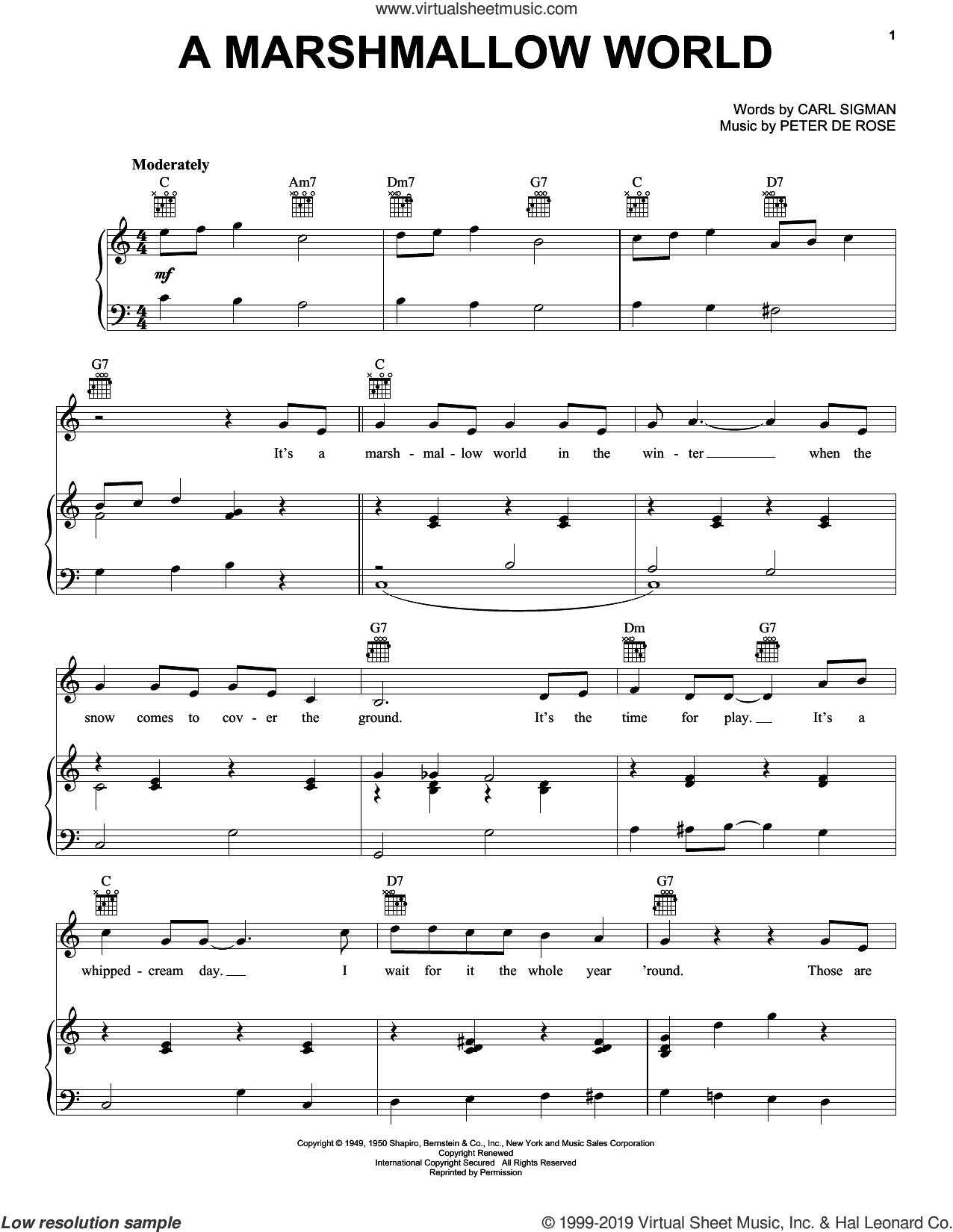 A Marshmallow World sheet music for voice, piano or guitar by Carl Sigman and Peter DeRose, intermediate skill level