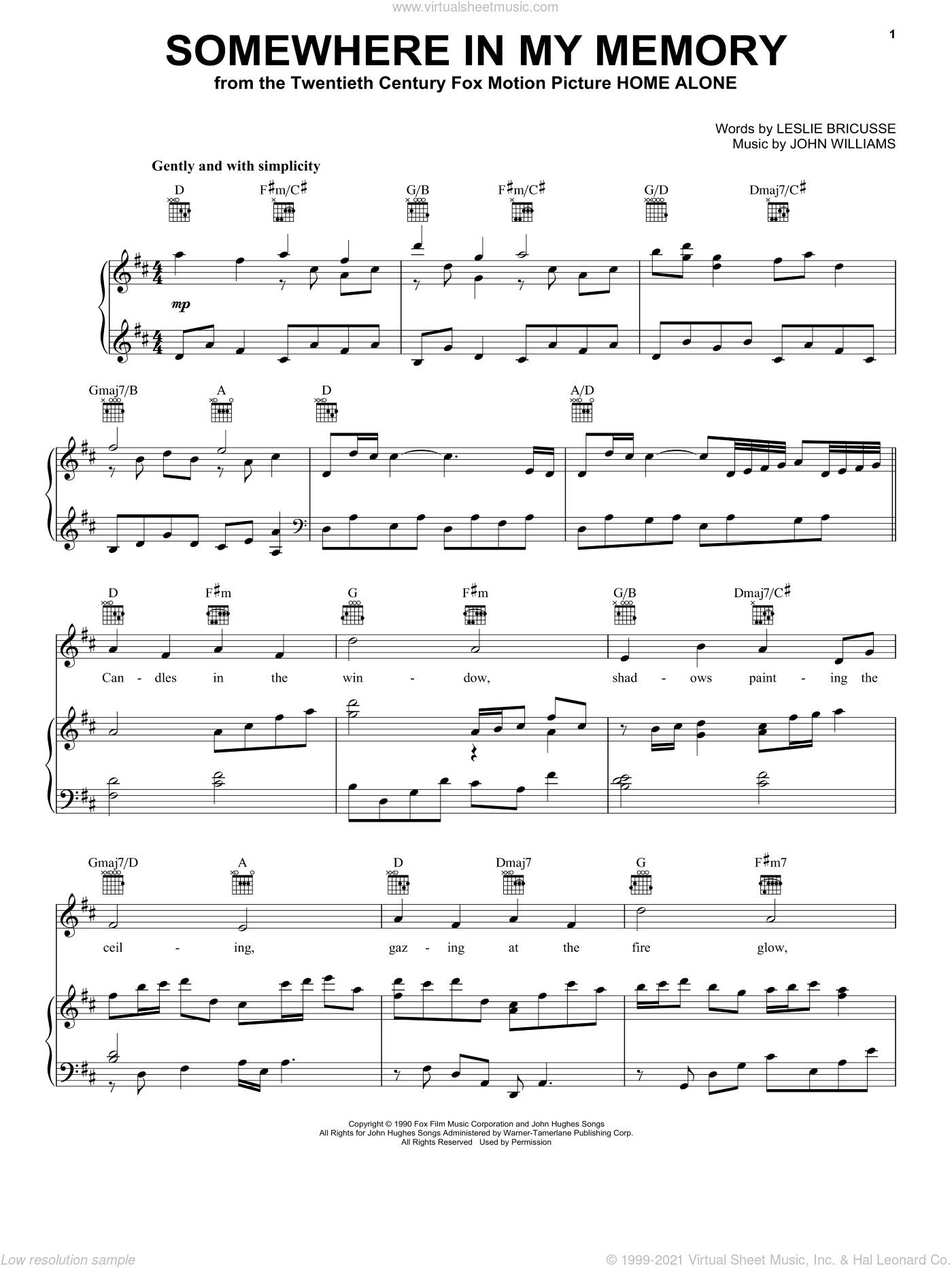 Somewhere In My Memory sheet music for voice, piano or guitar by John Williams and Leslie Bricusse, intermediate skill level