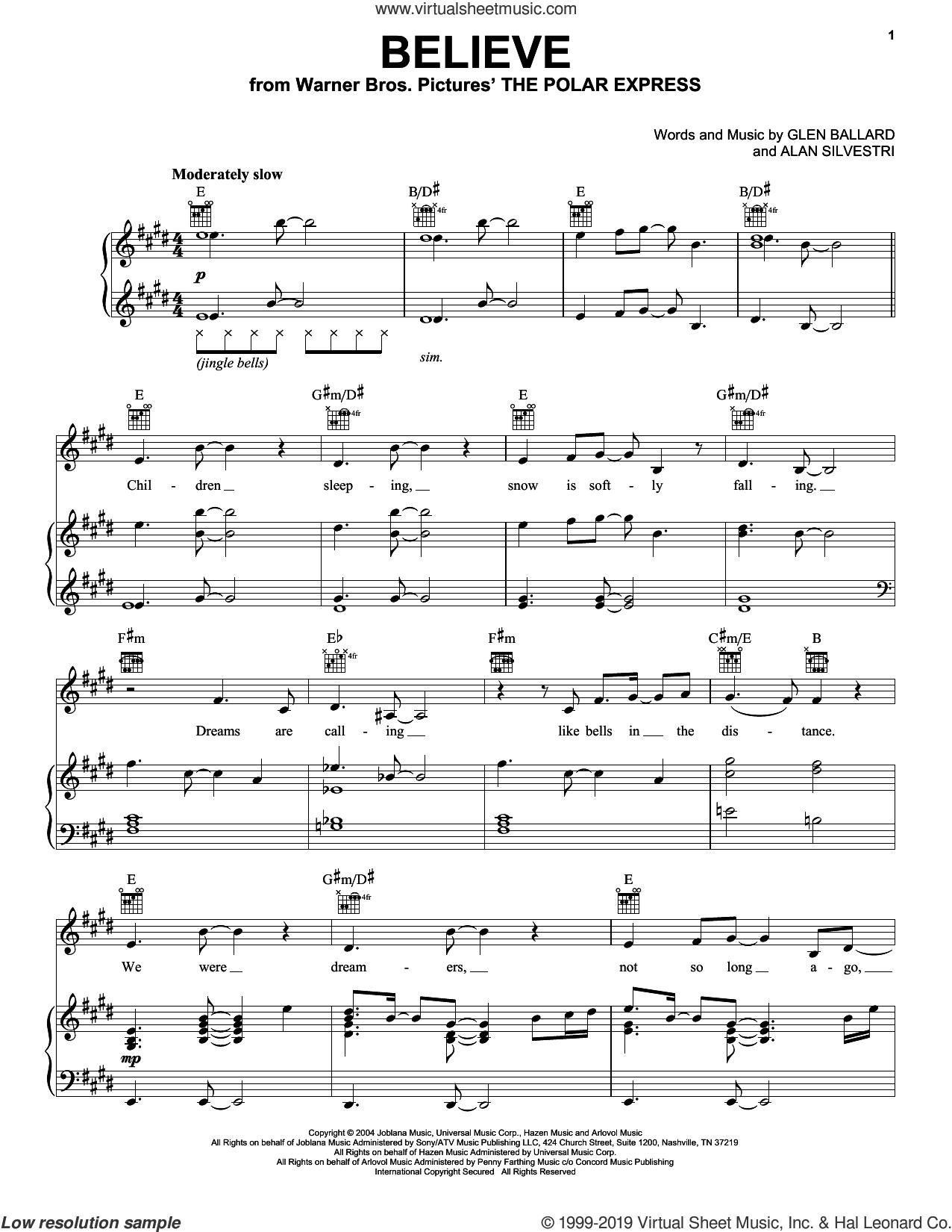 Believe sheet music for voice, piano or guitar by Alan Silvestri and Glen Ballard, intermediate skill level