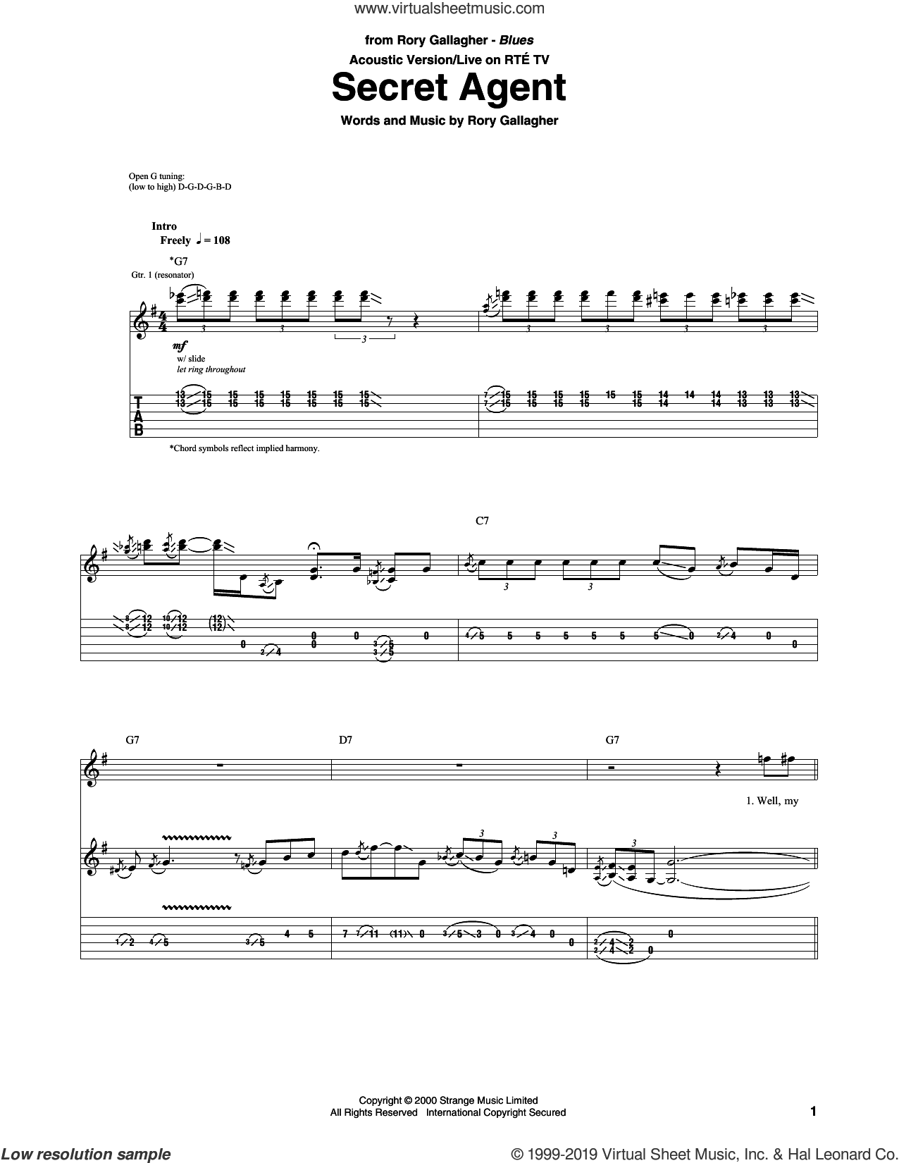 Secret Agent sheet music for guitar (tablature) by Rory Gallagher, intermediate skill level