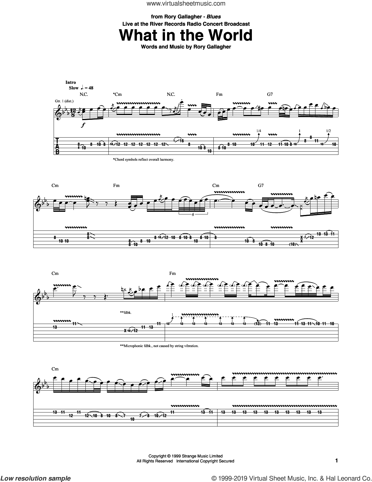 What In The World sheet music for guitar (tablature) by Rory Gallagher, intermediate skill level