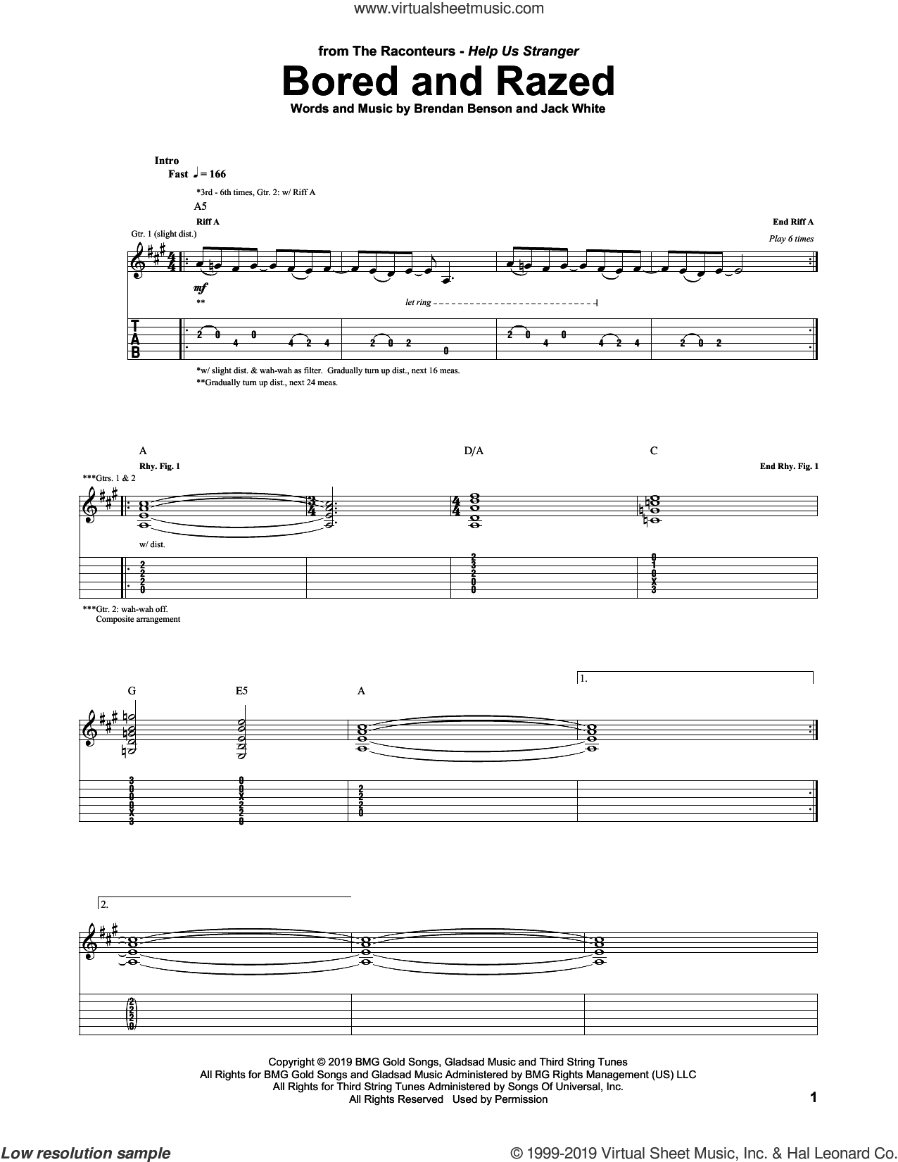 Bored And Razed sheet music for guitar (tablature) by The Raconteurs, Brendan Benson and Jack White, intermediate skill level