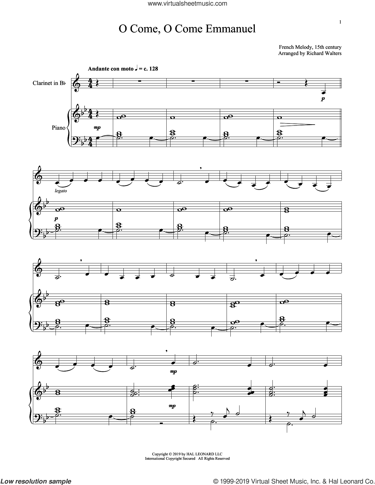 O Come, O Come, Emmanuel sheet music for clarinet and piano by John M. Neale (v. 1,2), 15th Century French Melody, Henry S. Coffin (v. 3,4), Miscellaneous and Thomas Helmore, intermediate skill level