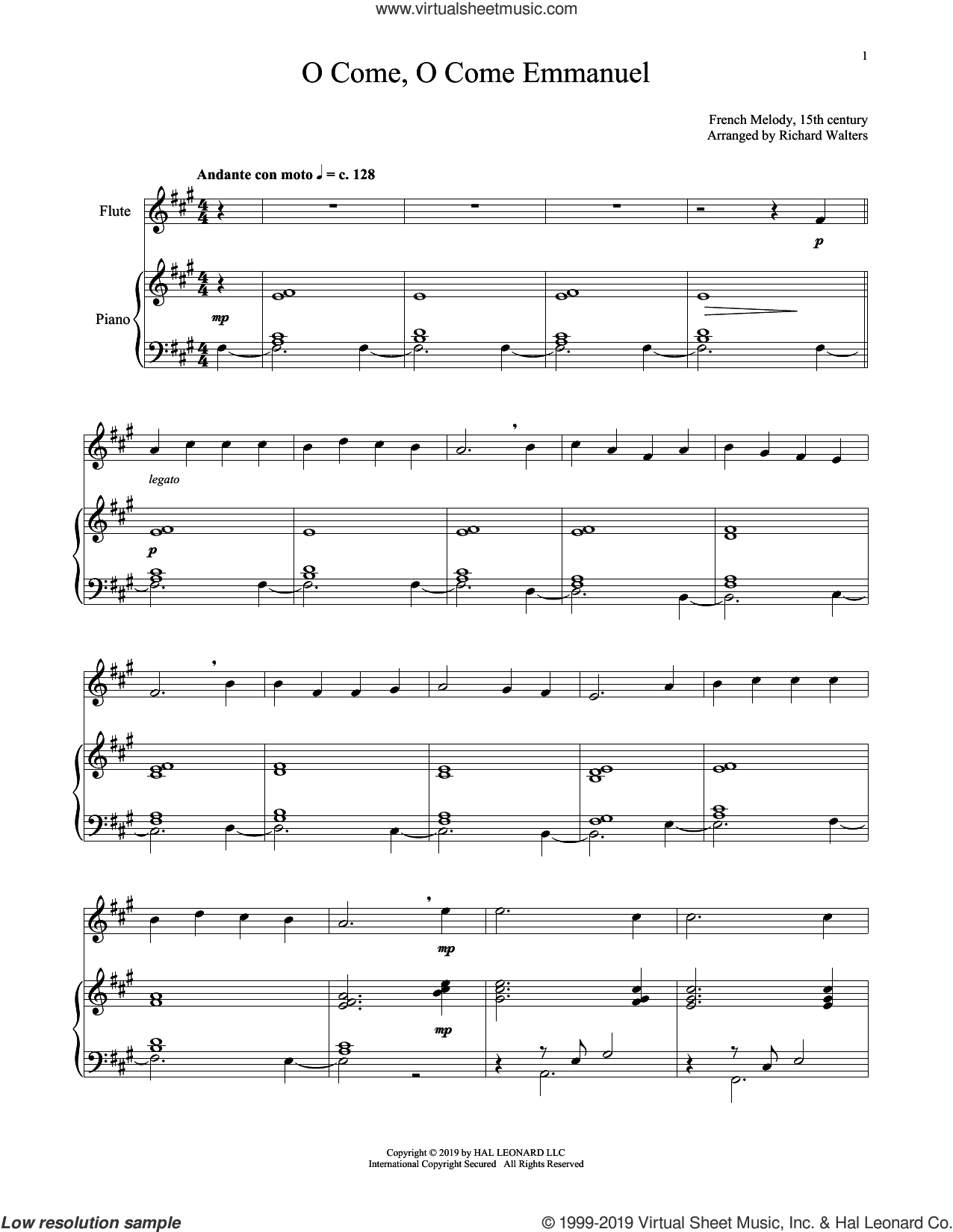 O Come, O Come, Emmanuel sheet music for flute and piano by John M. Neale (v. 1,2), 15th Century French Melody, Henry S. Coffin (v. 3,4), Miscellaneous and Thomas Helmore, intermediate skill level
