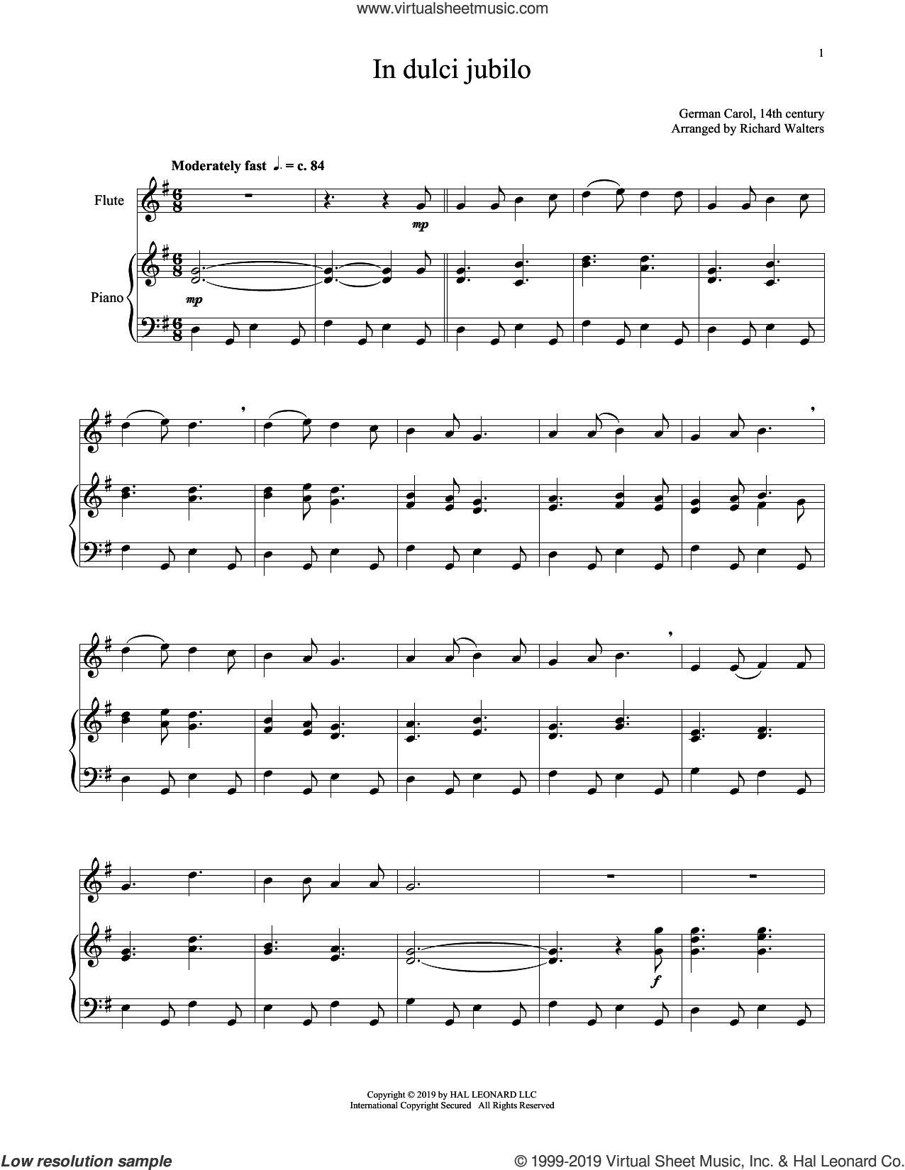 In Dulci Jubilo sheet music for flute and piano  and 14th Century German Melody, intermediate skill level