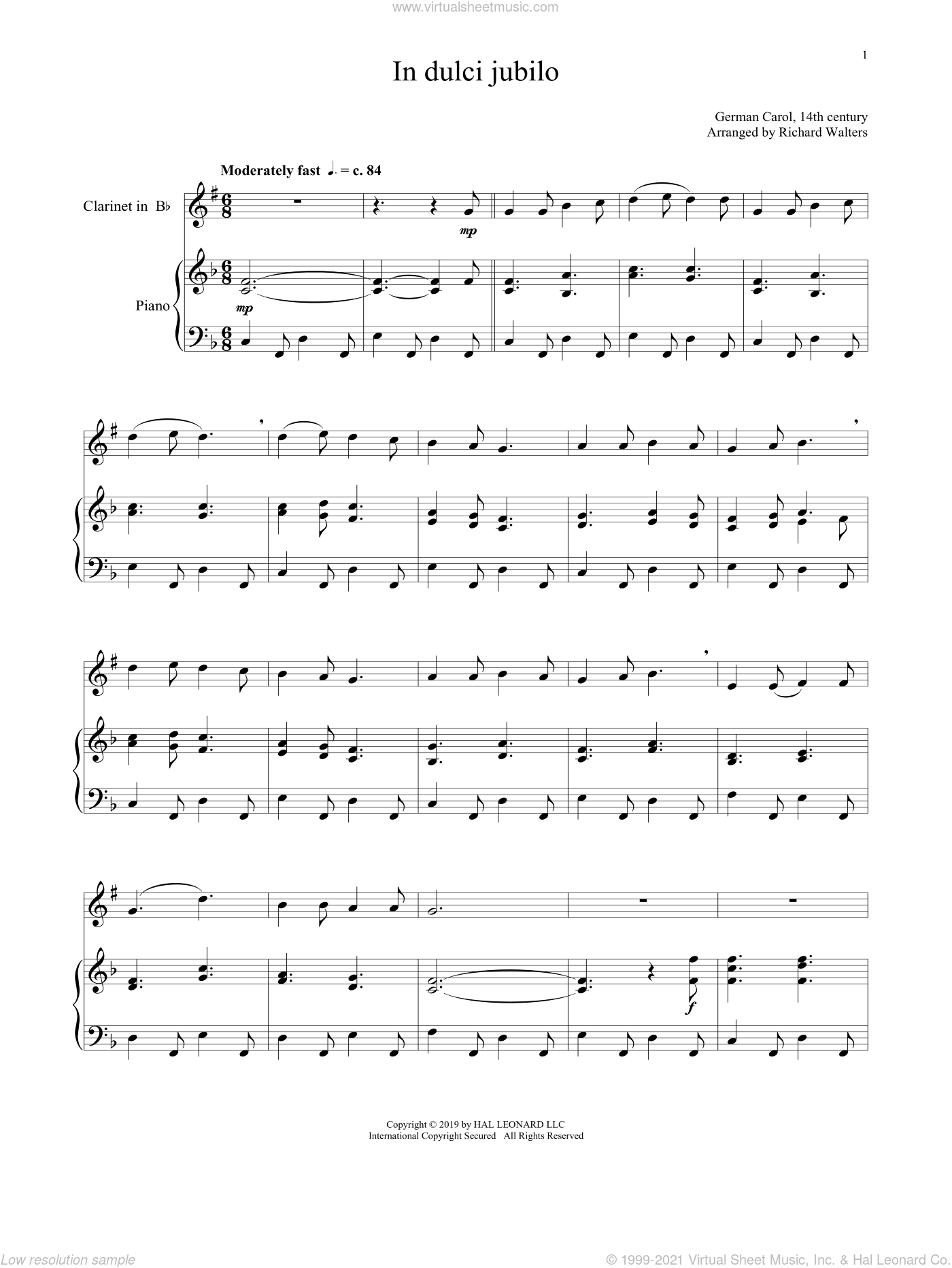 In Dulci Jubilo sheet music for clarinet and piano  and 14th Century German Melody, intermediate skill level