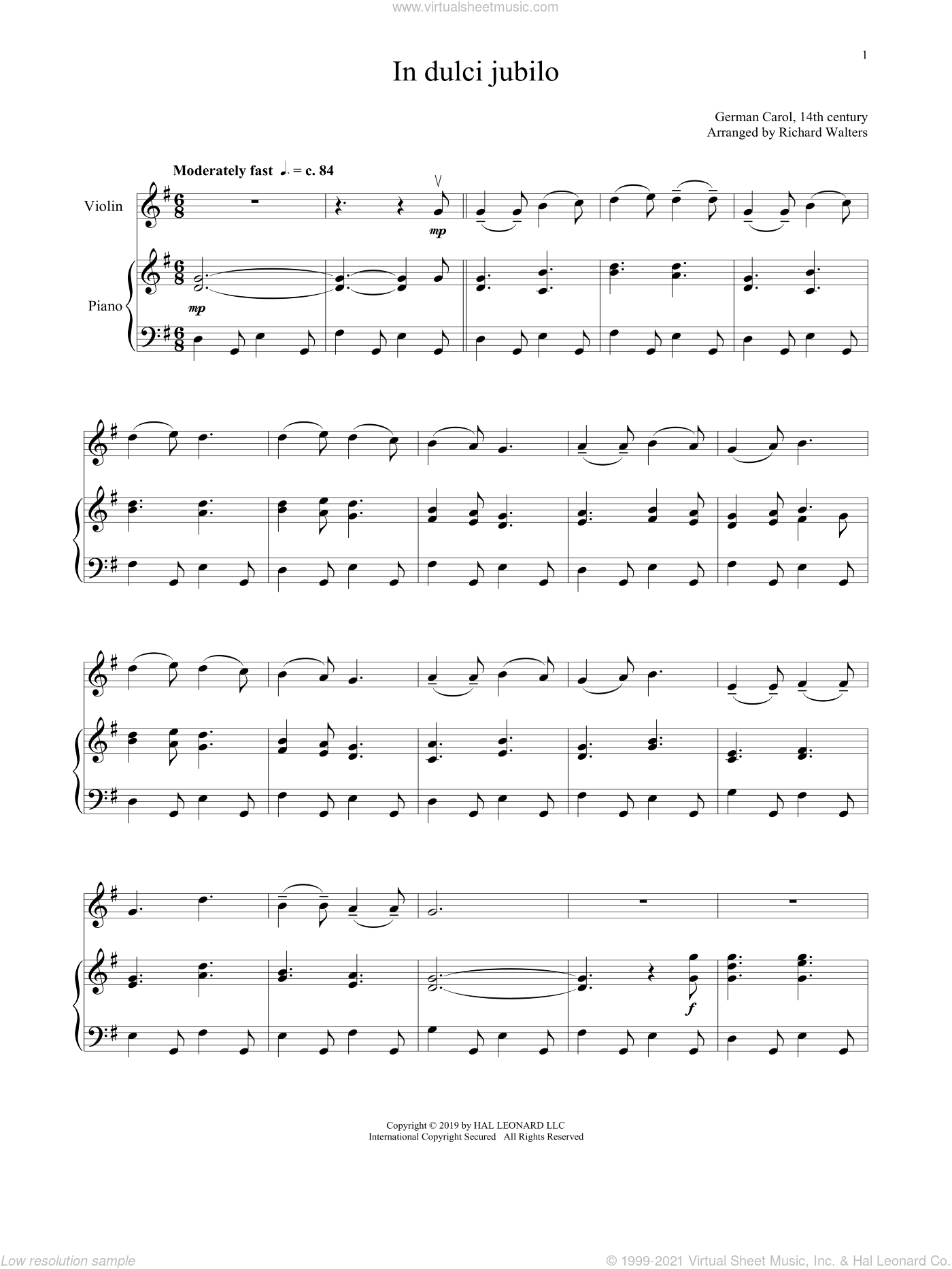 In Dulci Jubilo sheet music for violin and piano  and 14th Century German Melody, intermediate skill level